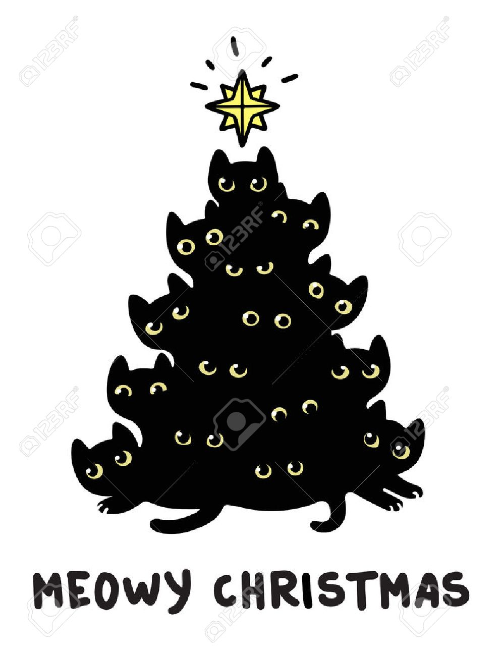 cute cartoon black cats christmas tree silhouette with text meowy christmas funny greeting card vector