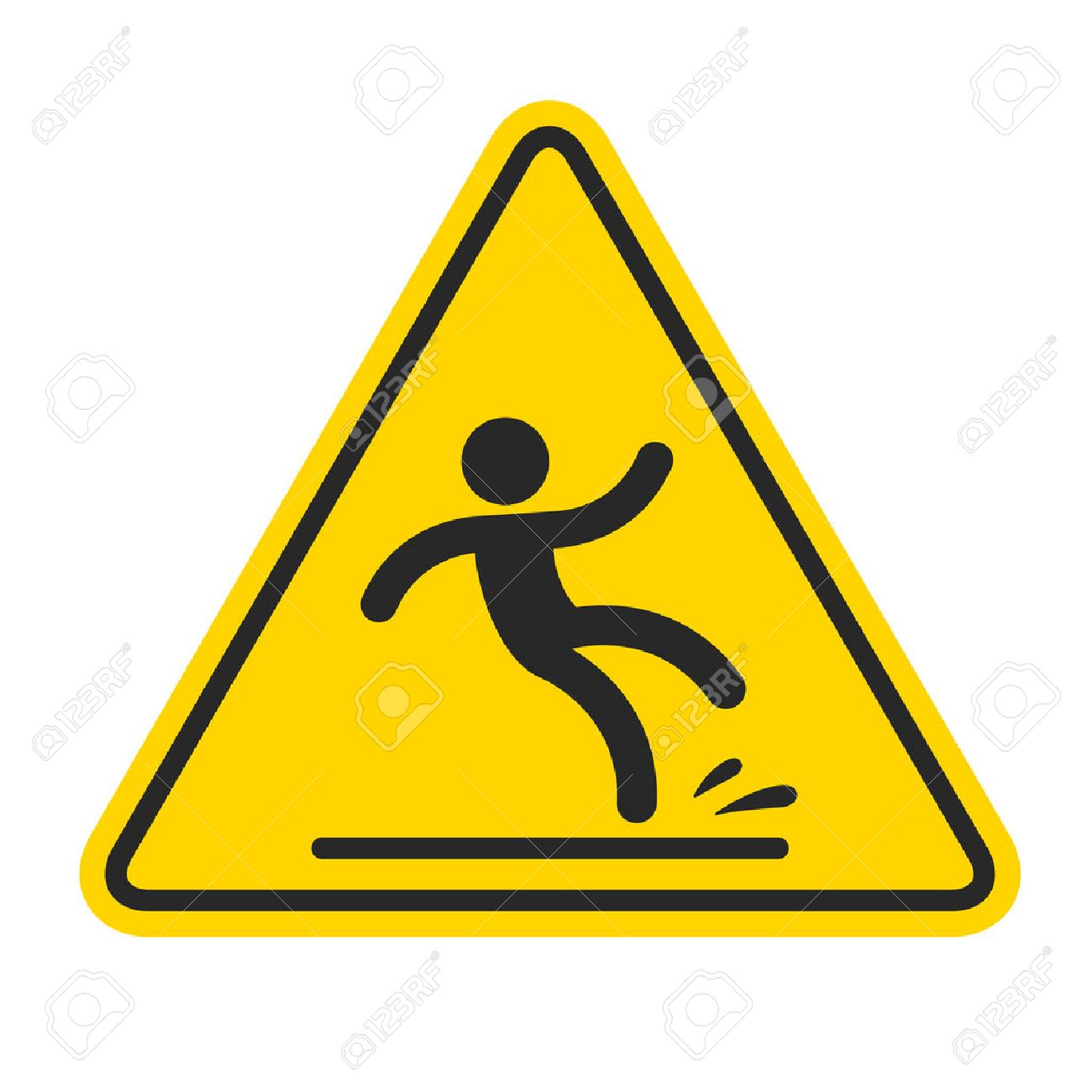 Wet Floor sign, yellow triangle with falling man in modern rounded style. Isolated vector illustration. - 49820952
