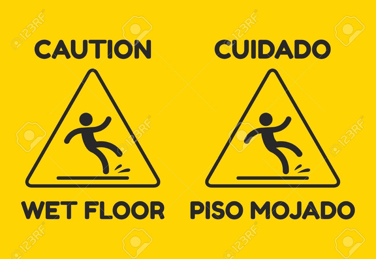 archivio fotografico segnale di avvertimento giallo con testo in inglese e spagnolo attenzione pavimento bagnato illustrazione vettoriale isolato