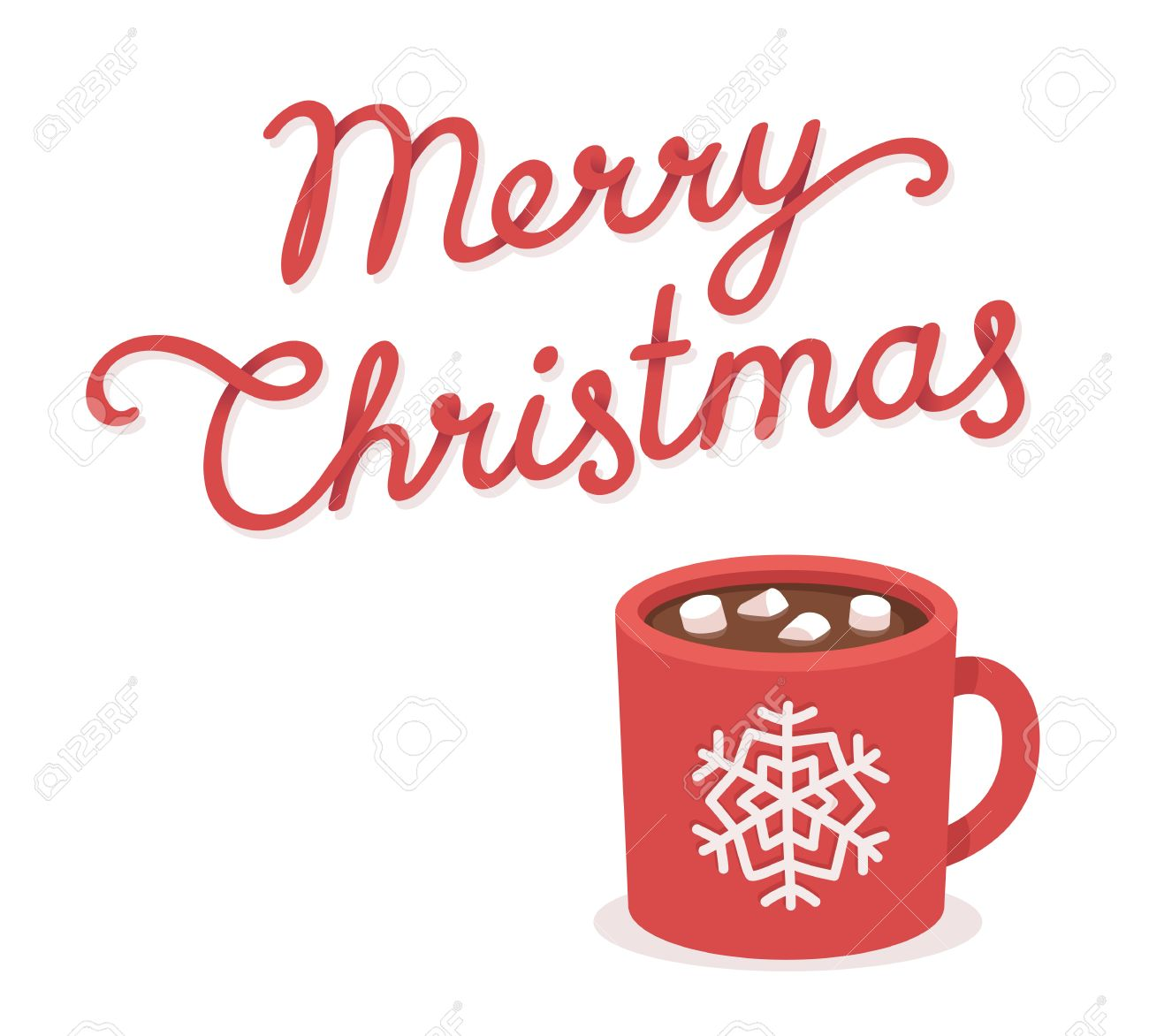 Merry christmas greeting card with hot chocolate and marshmallow merry christmas greeting card with hot chocolate and marshmallow cup hand drawn lettering isolated m4hsunfo
