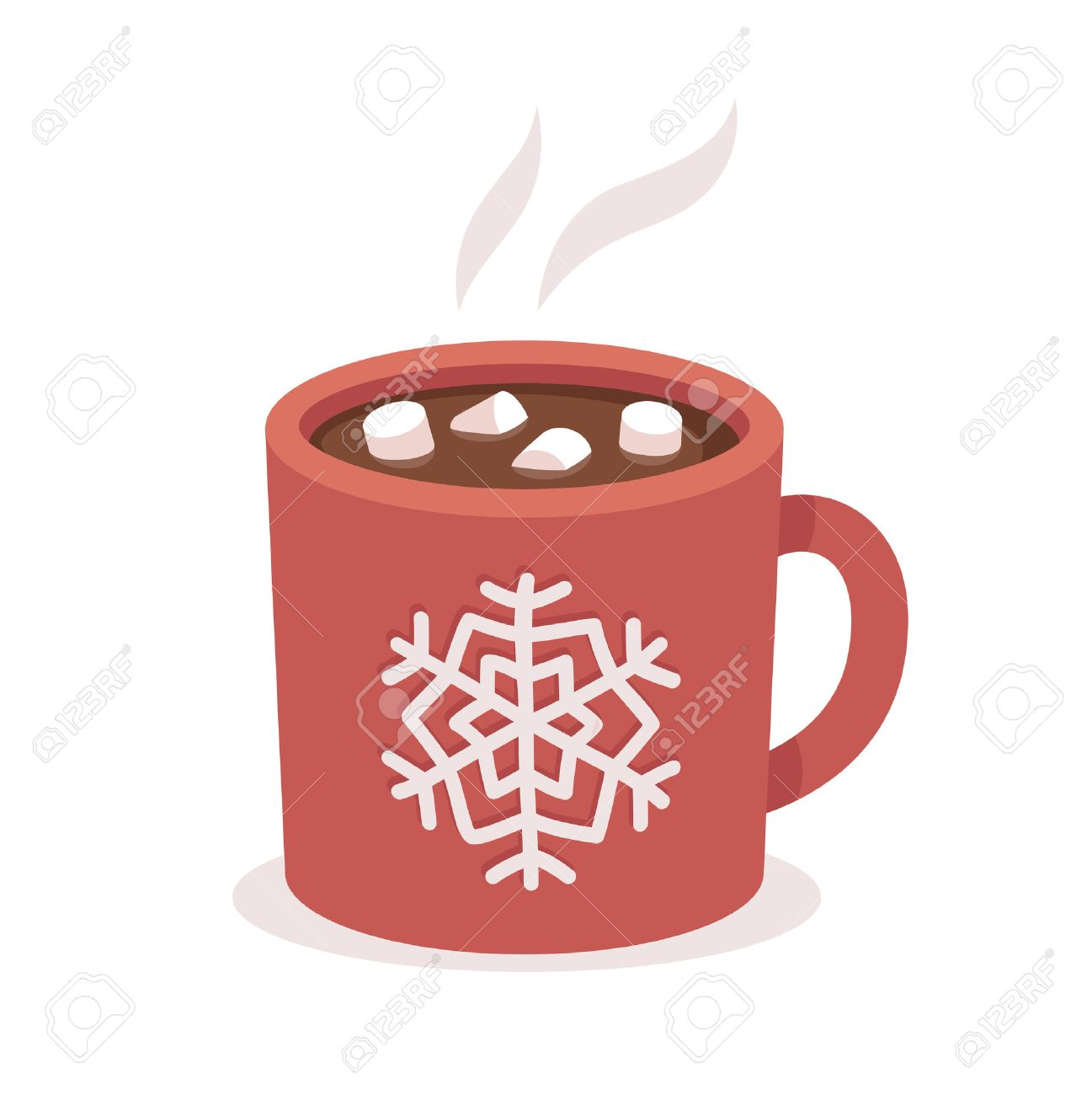 Hot Chocolate Cup With Marshmallows Red With Snowflake Ornament Christmas Greeting Card Design Element