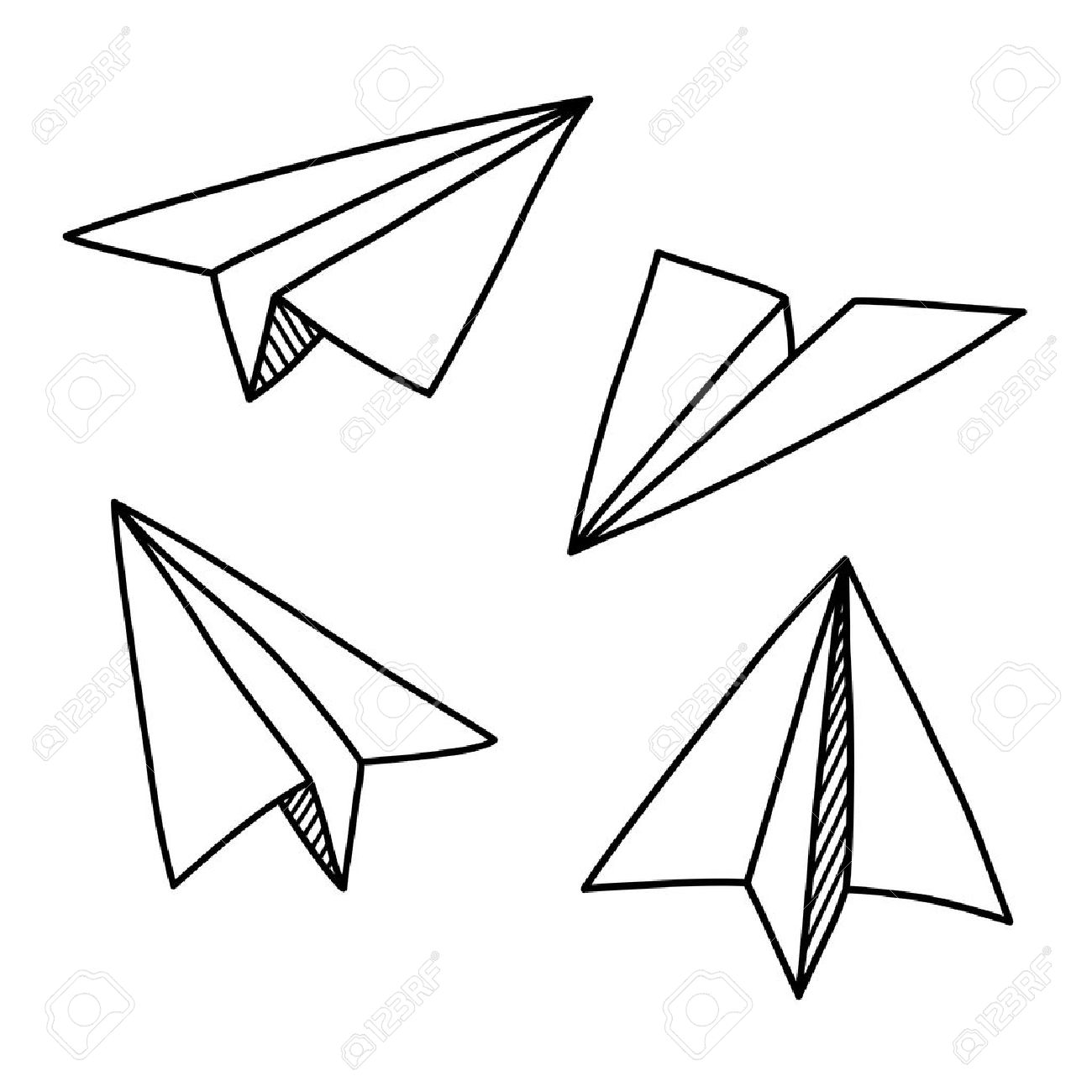 Doodle paper plane set in hand drawn sketch style - 50071705