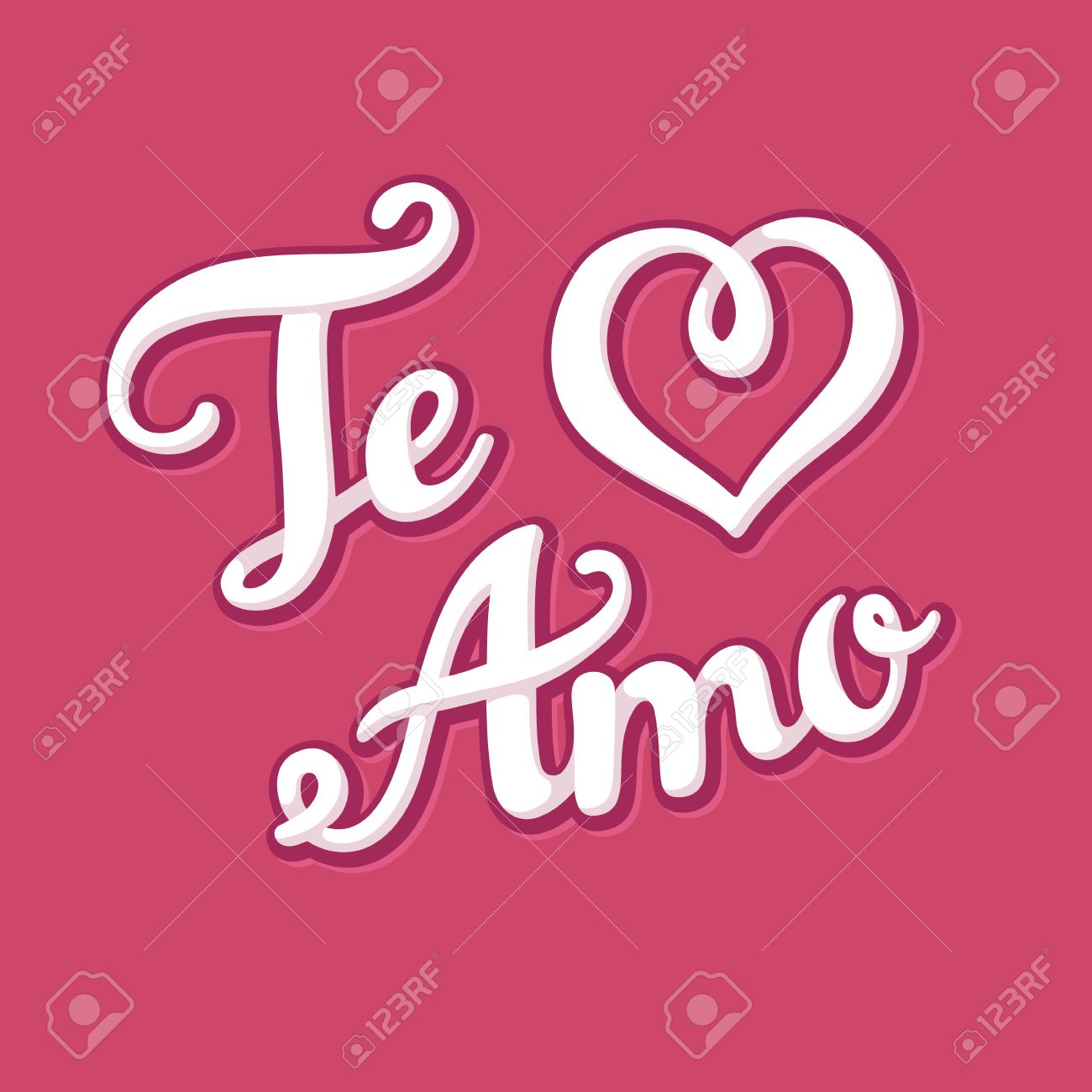 Te Amo (I Love You In Spanish) Hand Drawn Lettering With Heart Shape.