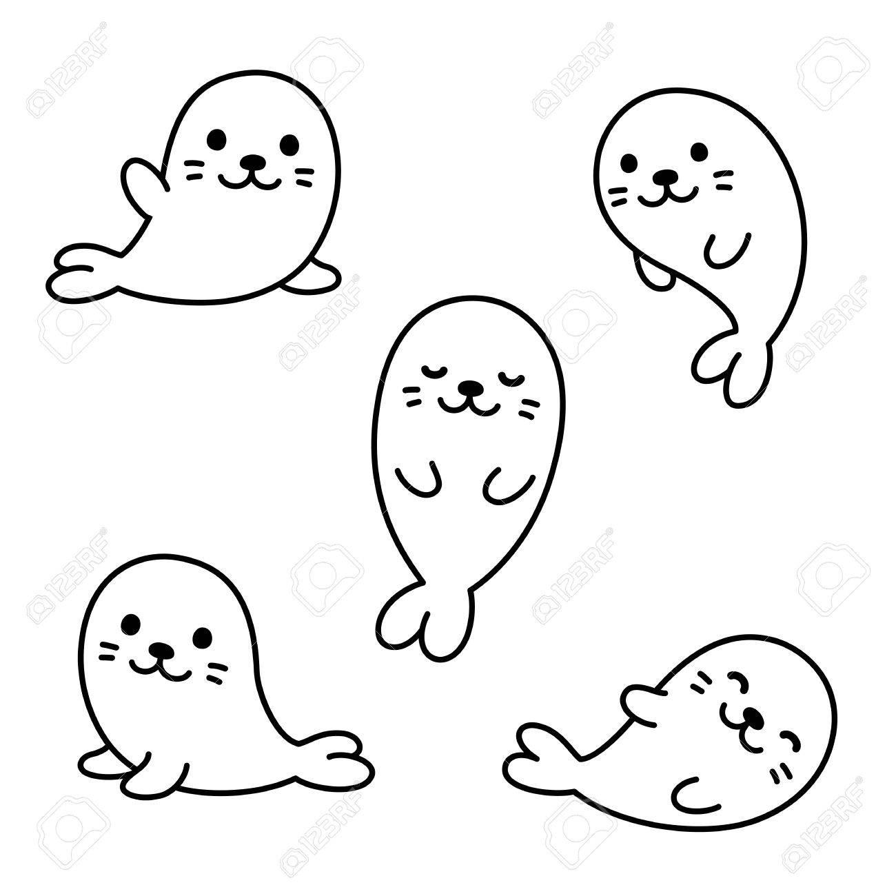 Cute Dibujos Animados De Crías De Foca Bebé Ilustraciones