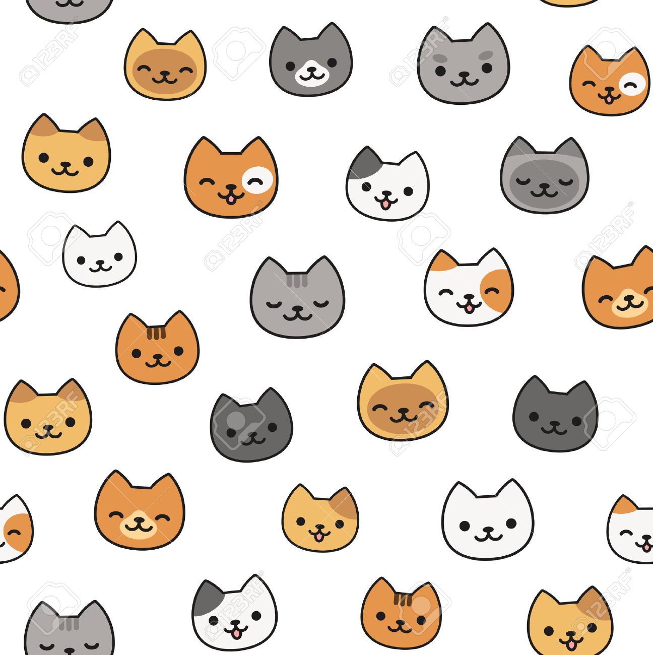seamless pattern of cute cartoon cats different breeds and colors