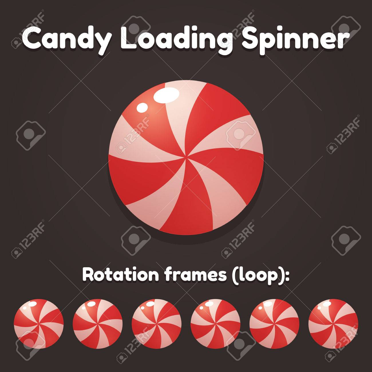 Spinning cartoon candy preloader for game, application or website