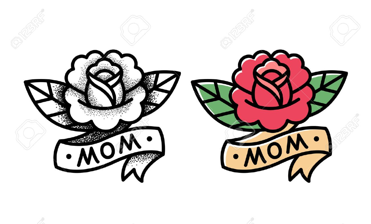 Old School Rose Tattoo With Ribbon And Word Mom Two Variants