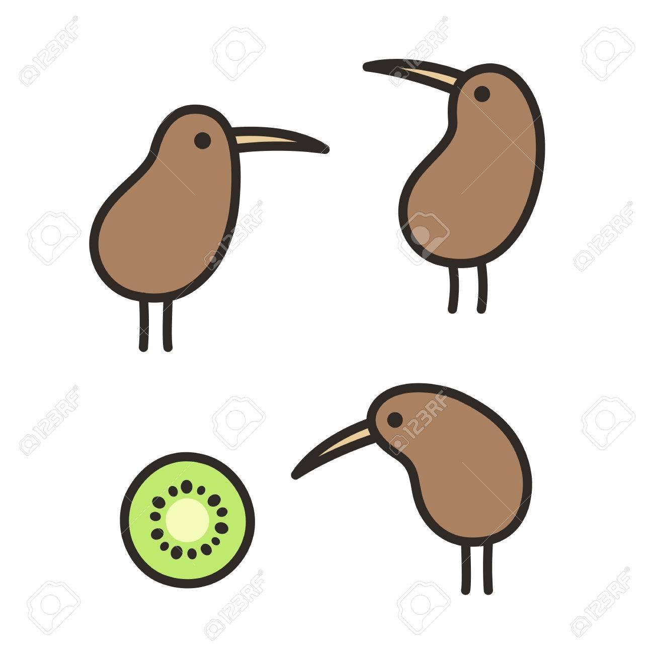 Set Of Doodle Kiwi Birds And Kiwi Fruit Simple And Cute Hand