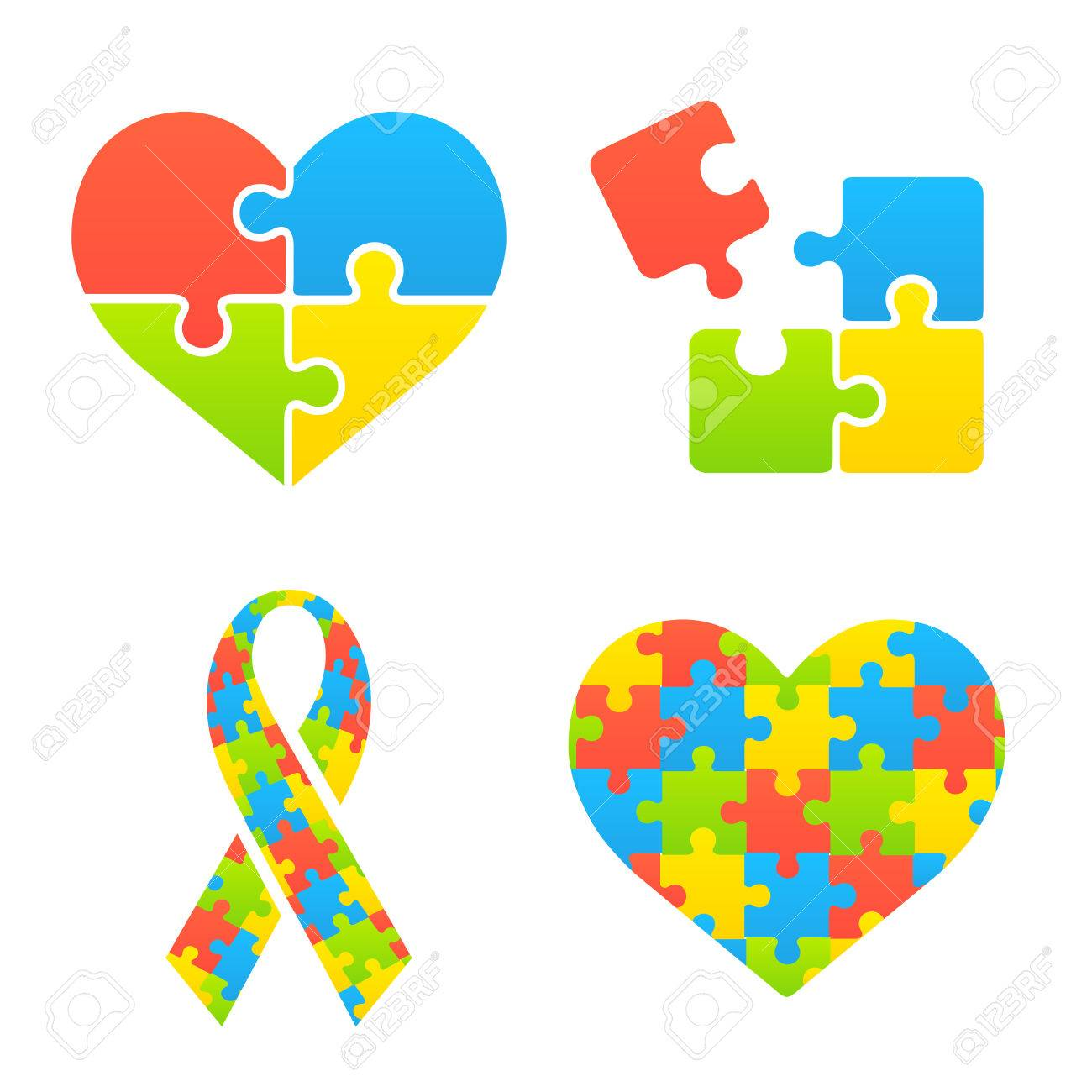 Autism Awareness Symbols Set Heart Ribbon And Puzzle Pieces
