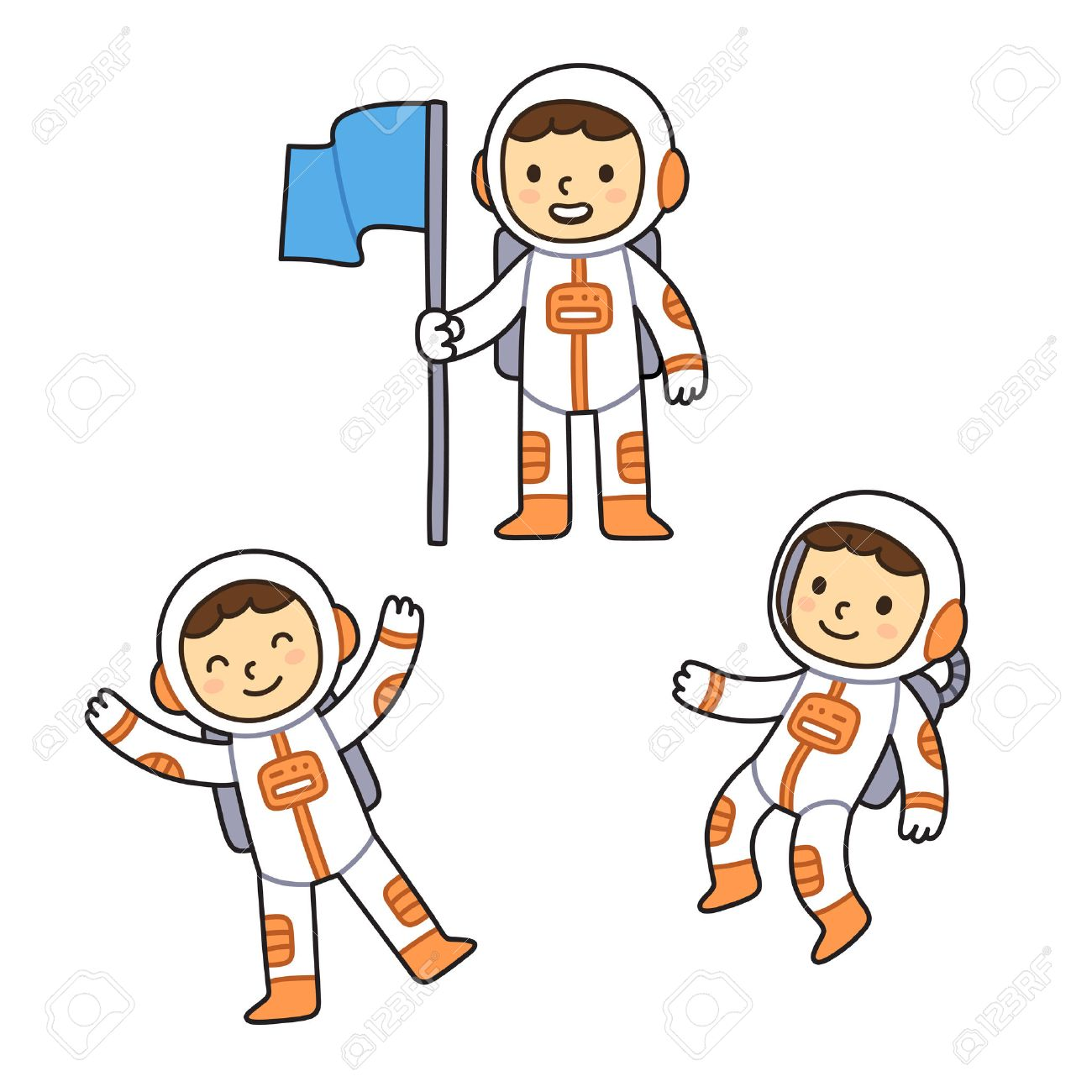 Cute cartoon astronaut set. Cartoon astronaut boy in different poses, floating in space and holding flag. - 54511055