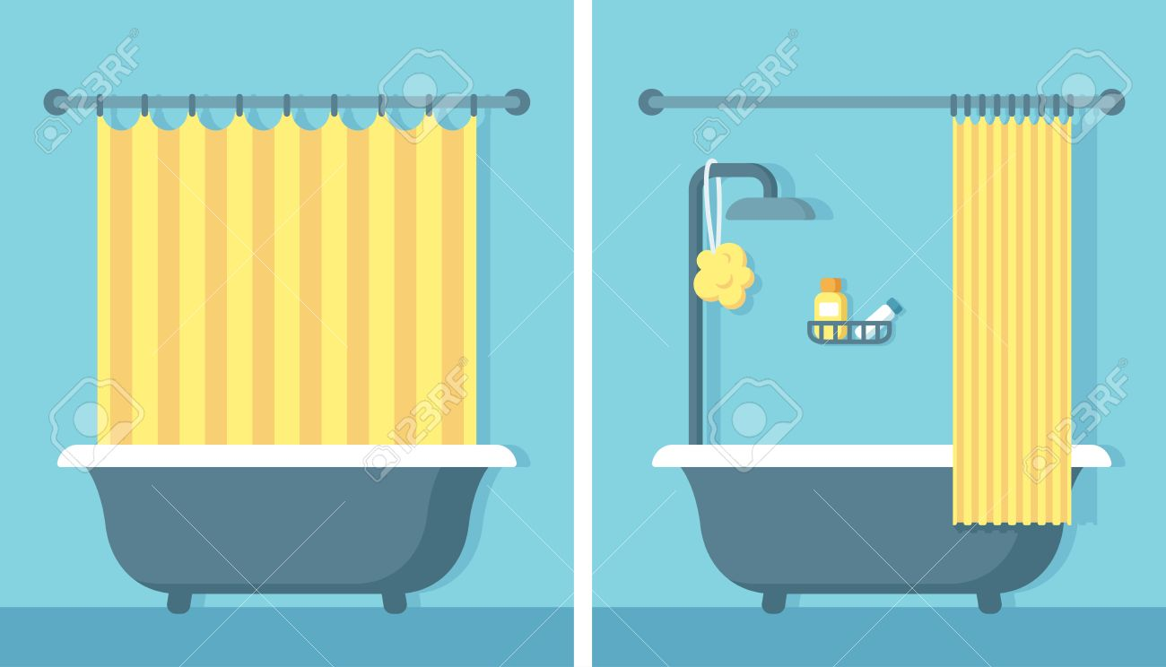 Bathroom Shower Interior In Flat Cartoon Vector Style With Open And Closed Curtain Stock