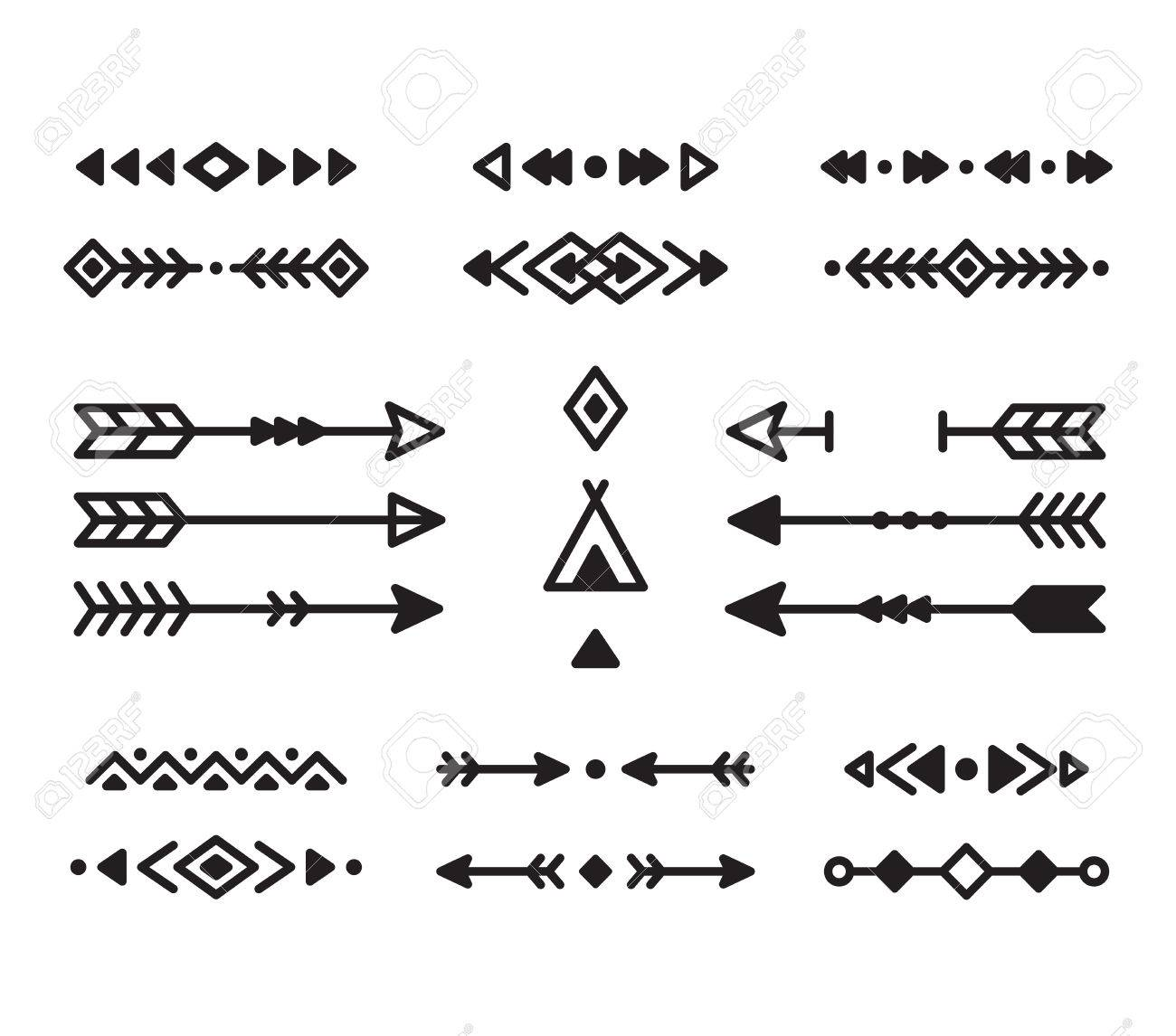 Native american ornaments - Native American Indian Design Elements Set Borders Arrows Ornaments And Other Symbols