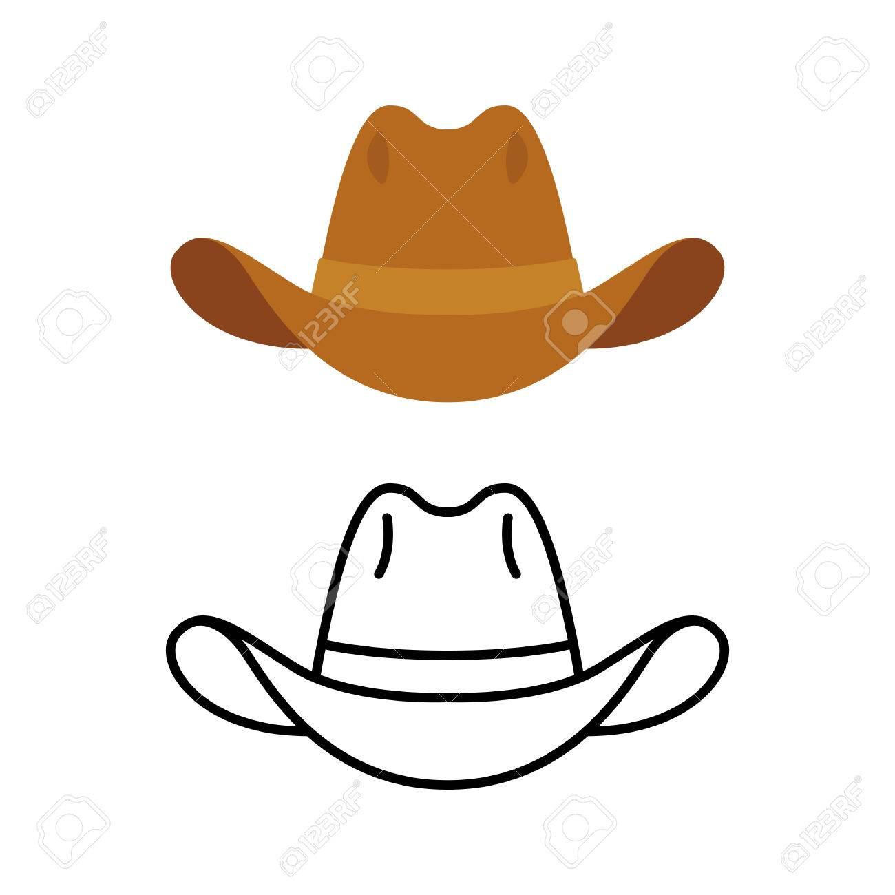 Cowboy Hat Icon Two Variants Flat Color And Line Icon Simple