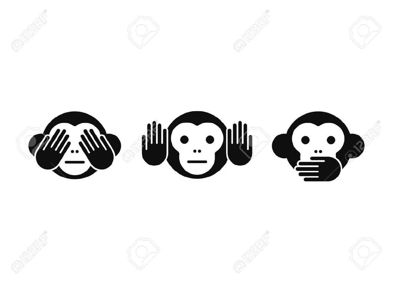 See no Evil, Hear no Evil, Speak no Evil monkey icon set. Simple modern vector illustration. - 56096586