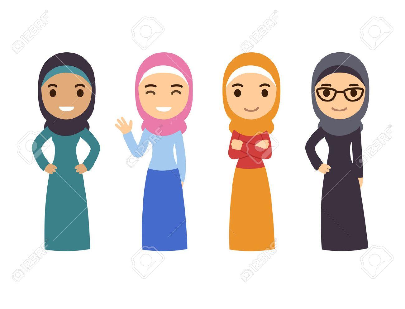 Muslim women set cute cartoon arab girls in traditional dress businesswomen collection stock