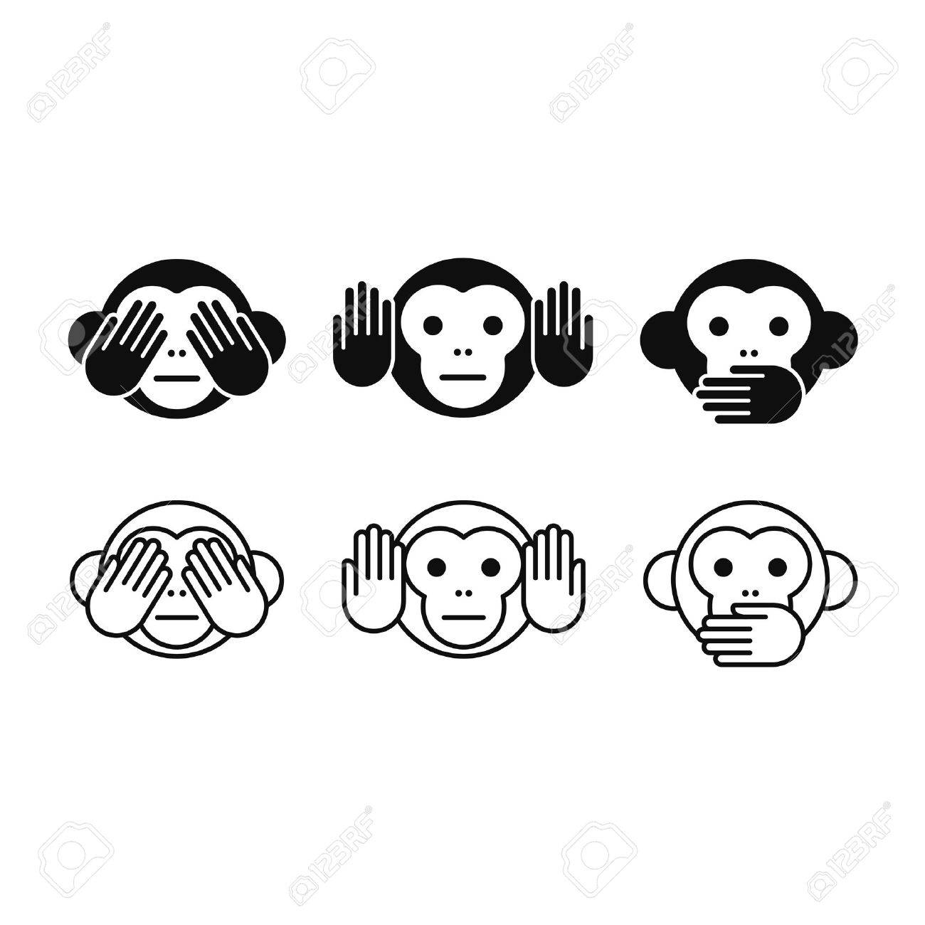 See no Evil, Hear no Evil, Speak no Evil monkey icon set in two styles, solid and line. Simple modern vector illustration. - 56736284