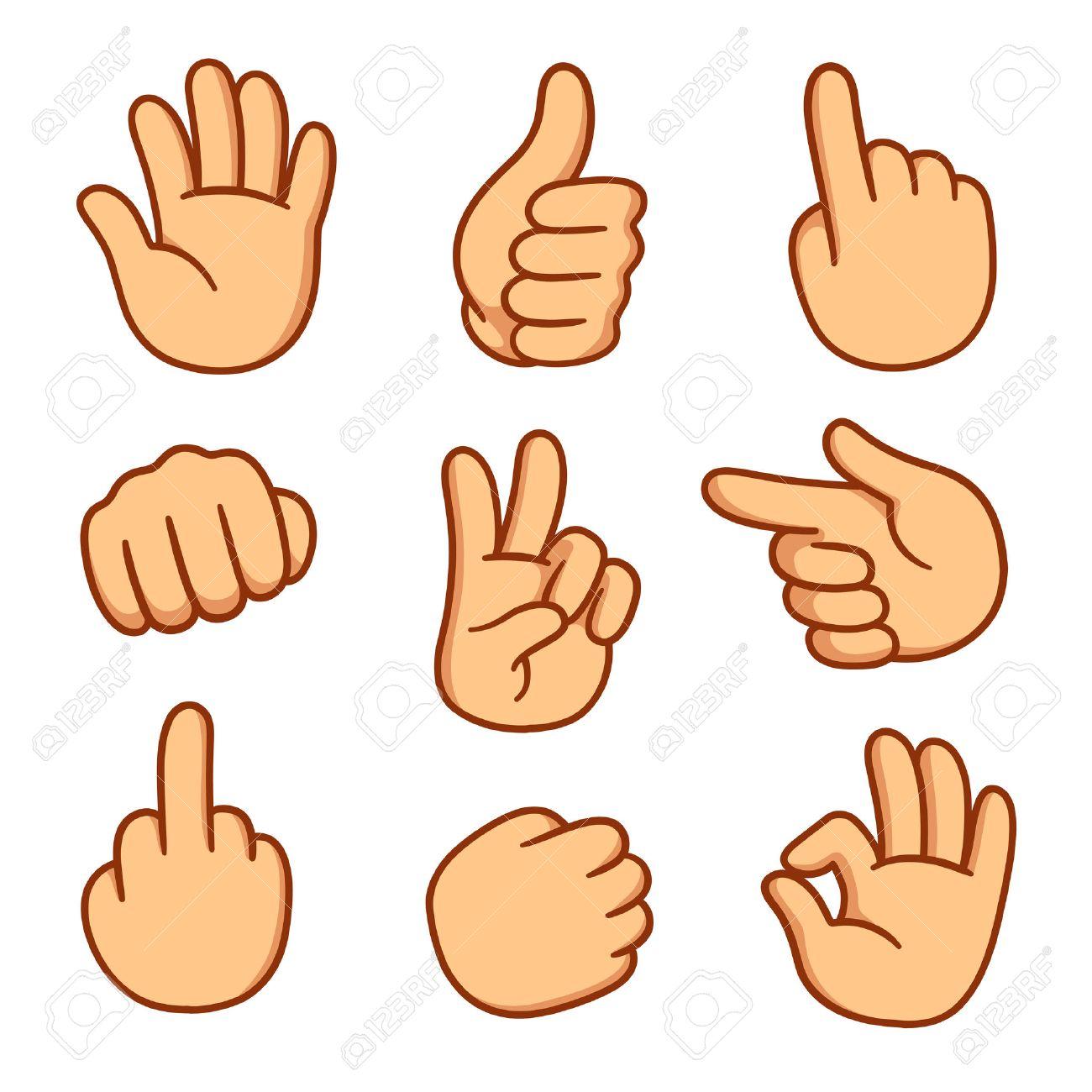 Cartoon Hands Set Different Gestures Vector Illustration Royalty