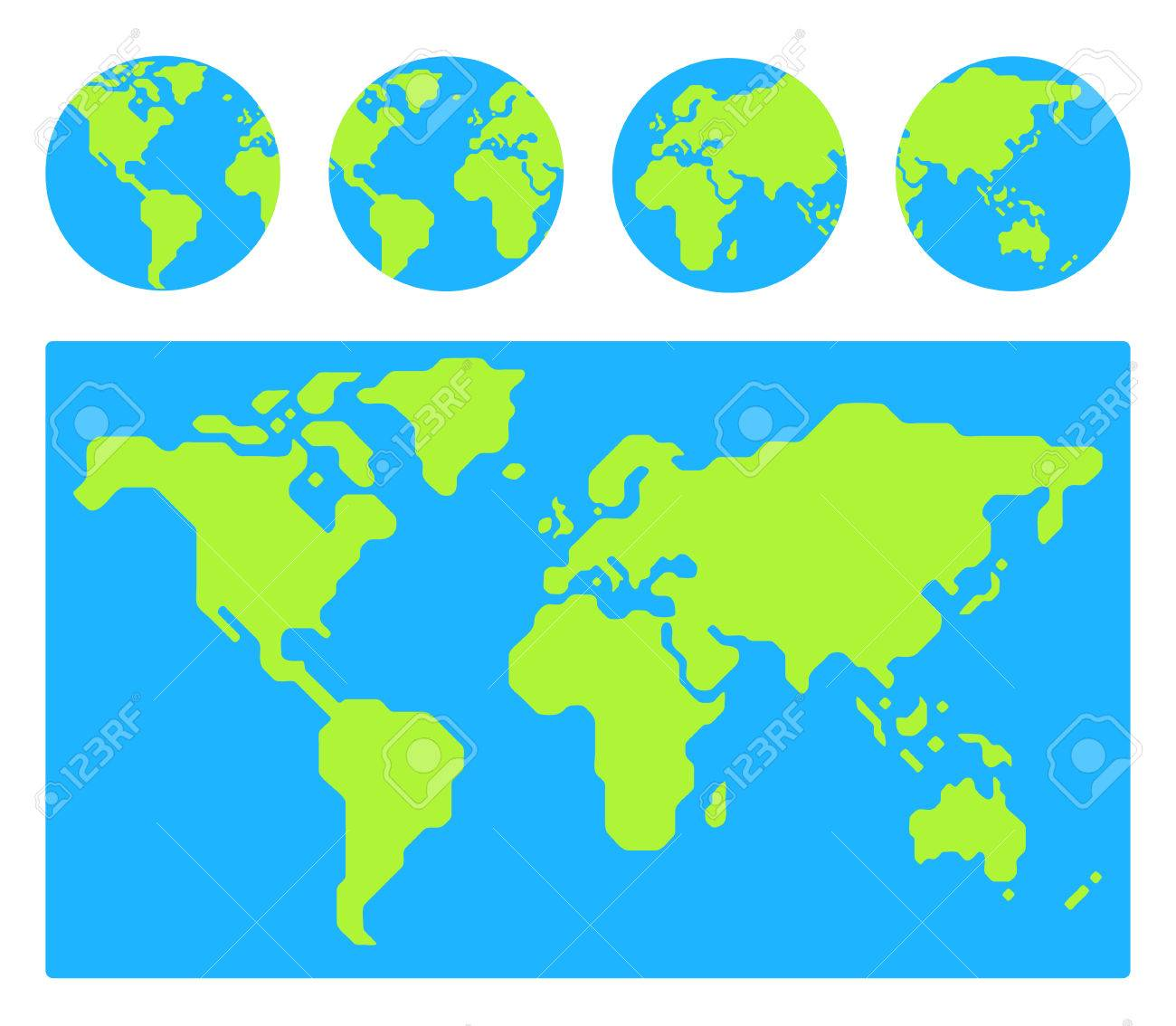 World map with 4 globe icons from different sides stylized world map with 4 globe icons from different sides stylized geometric flat vector stock gumiabroncs Gallery