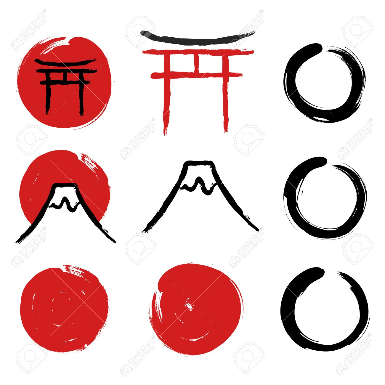 Set of hand drawn traditional japanese symbols red circles set of hand drawn traditional japanese symbols red circles torii gate enso biocorpaavc