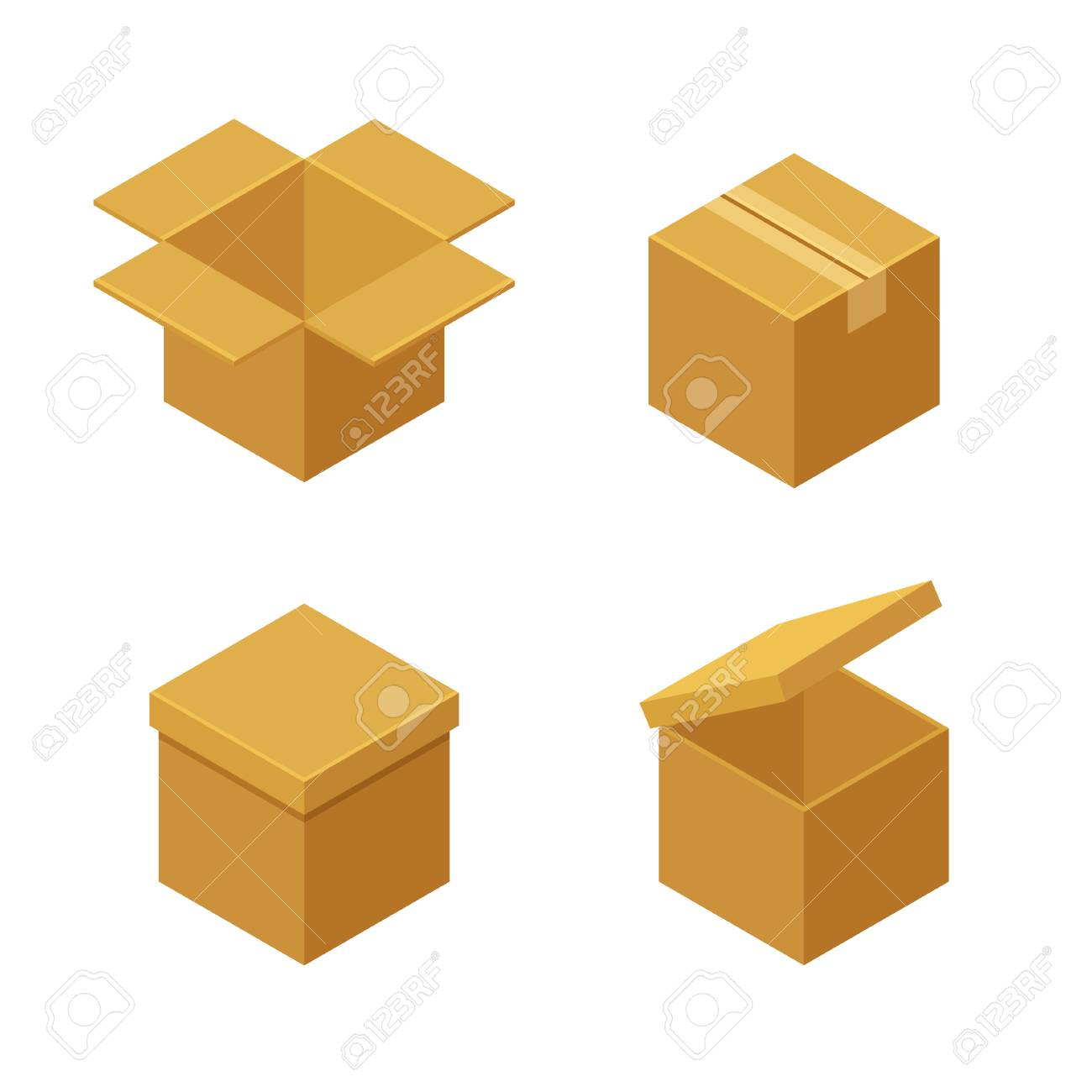boxes and packaging icon set closed and open isometric cardboard rh 123rf com vector packaging fort worth vector packaging templates