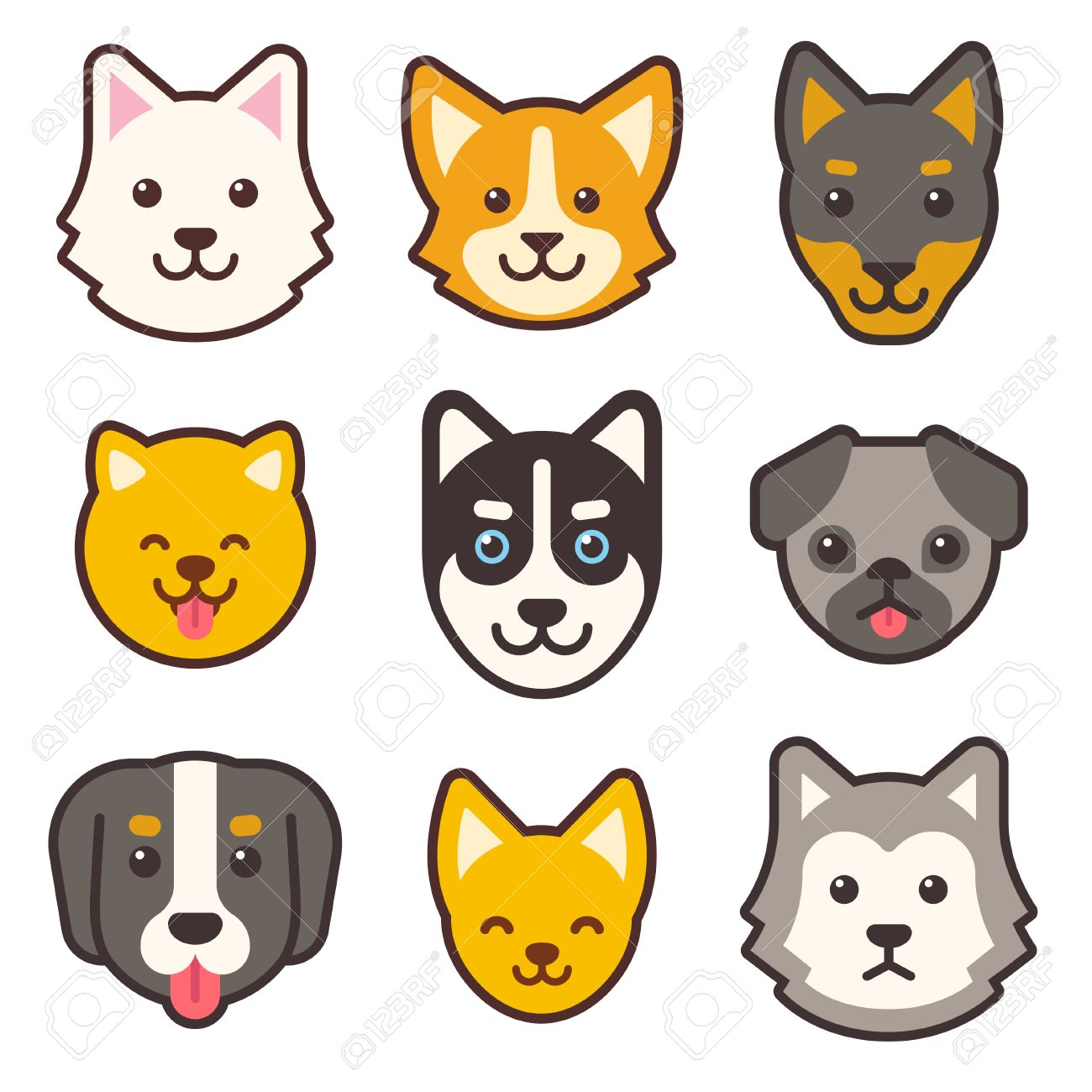Image of: Png Cartoon Dog Faces Set Different Breeds Of Dogs Cute Flat Icons Stock Vector 123rfcom Cartoon Dog Faces Set Different Breeds Of Dogs Cute Flat Icons