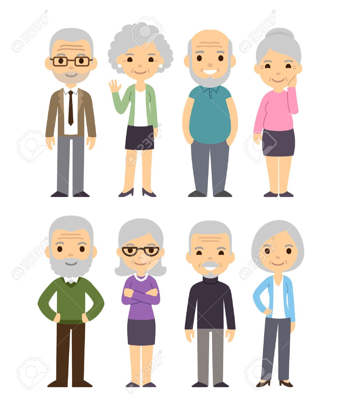 Image of: Imgur Cute Cartoon Senior People Set Happy Old People Men And Women Isolated Flat 123rfcom Cute Cartoon Senior People Set Happy Old People Men And Women