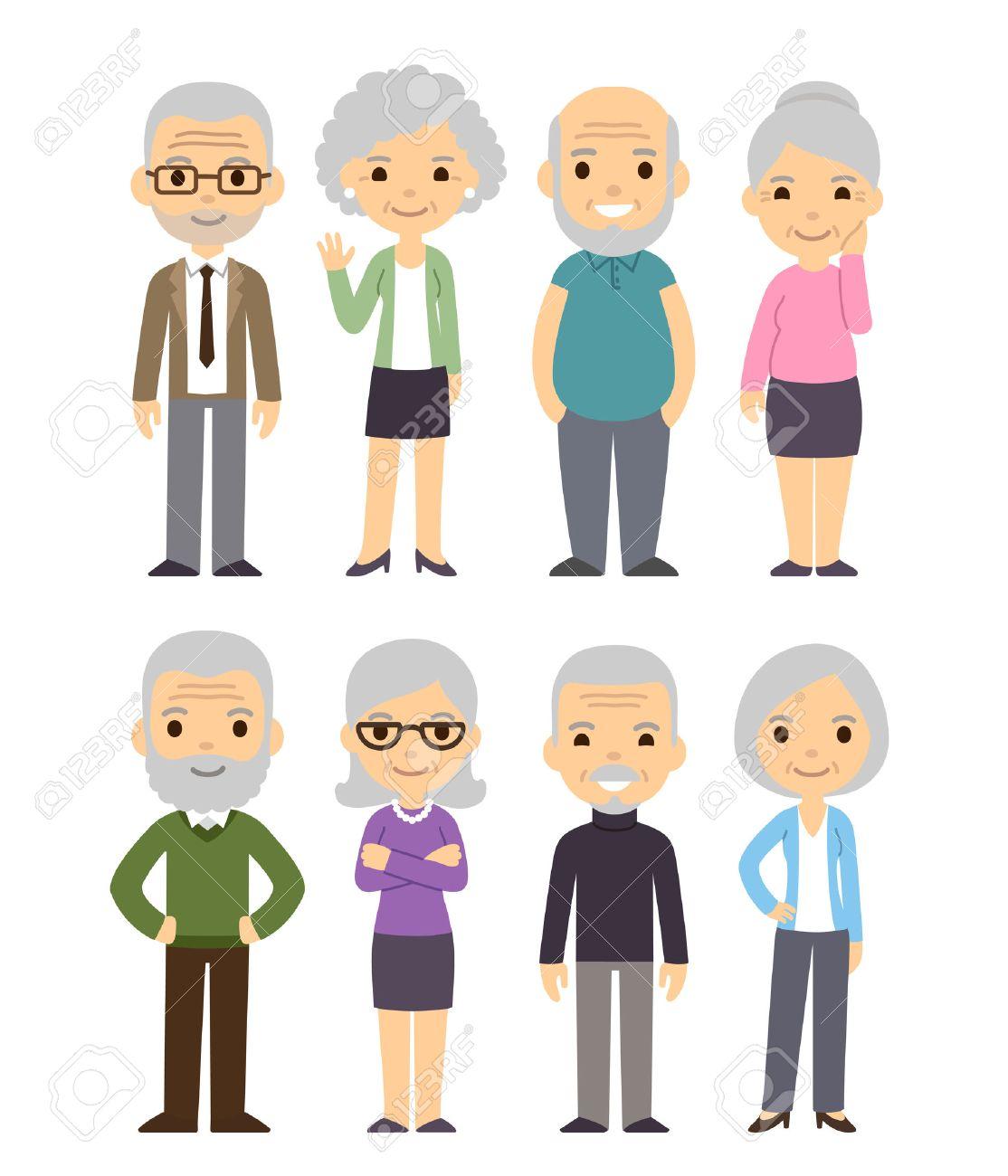 Cute cartoon senior people set. Happy old people, men and women, isolated flat vector illustration. - 57718192