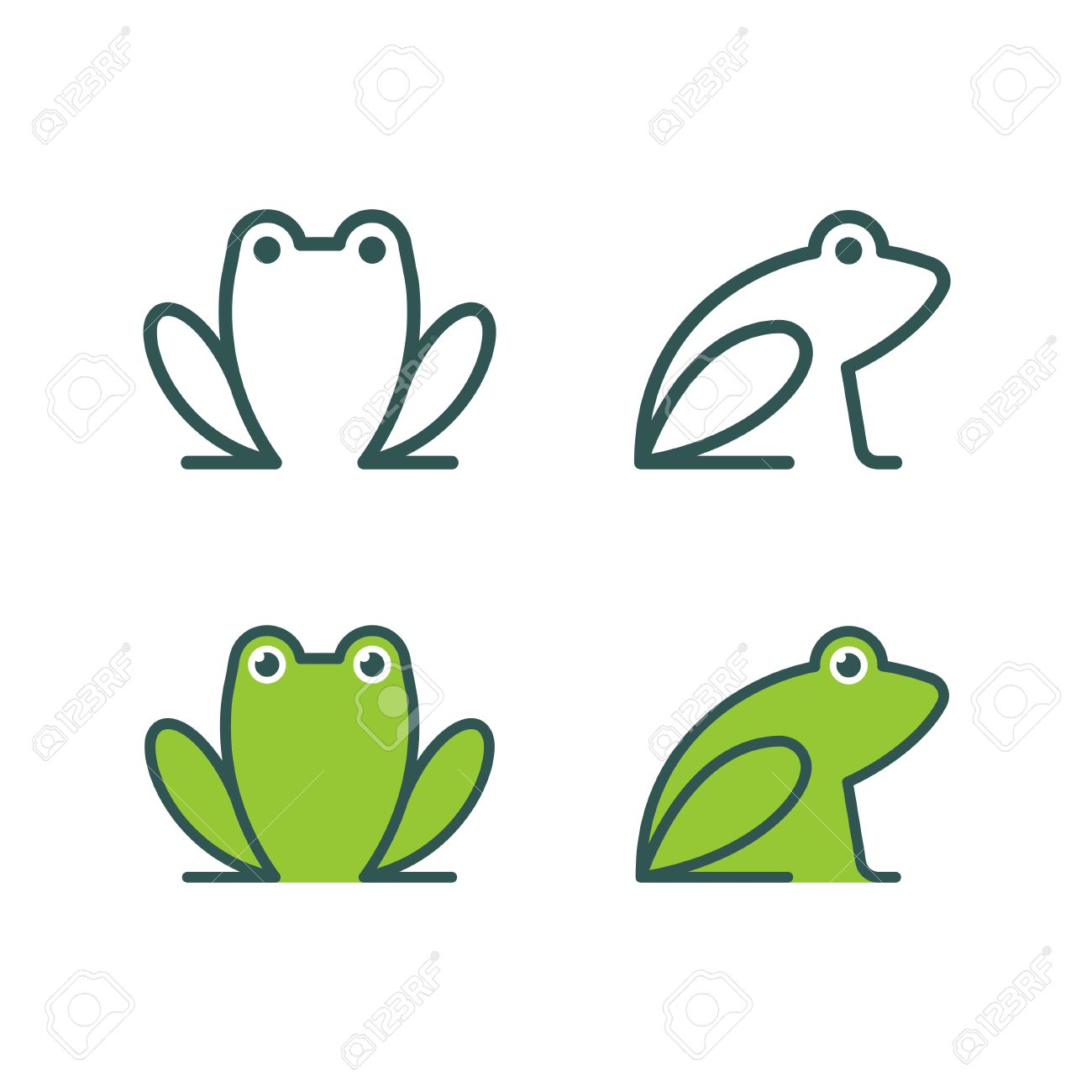 minimalist stylized cartoon frog logo line icon and colored rh 123rf com Cute Frog Silhouette Leaping Frog Clip Art