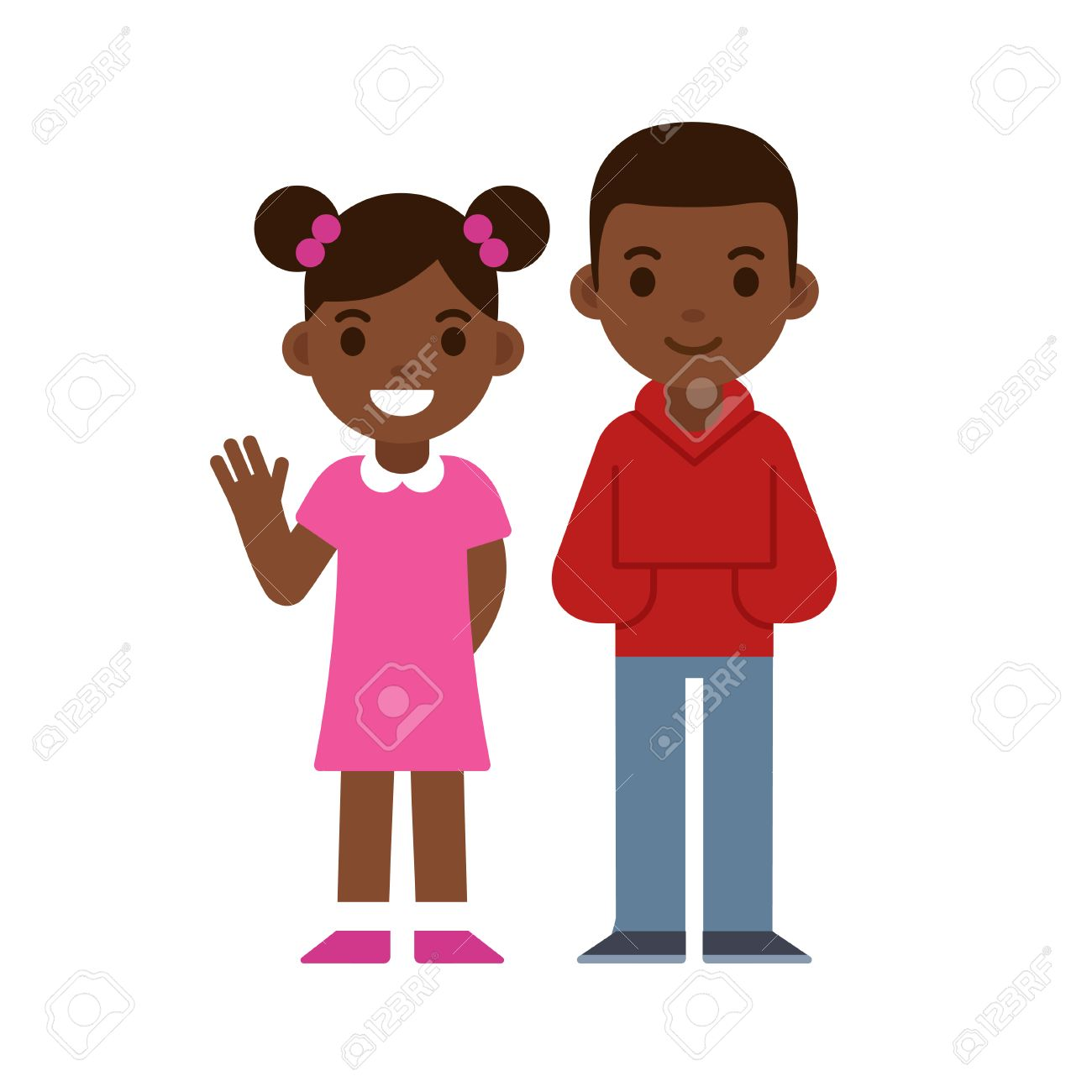 cute cartoon black children smiling and waving, boy and girl