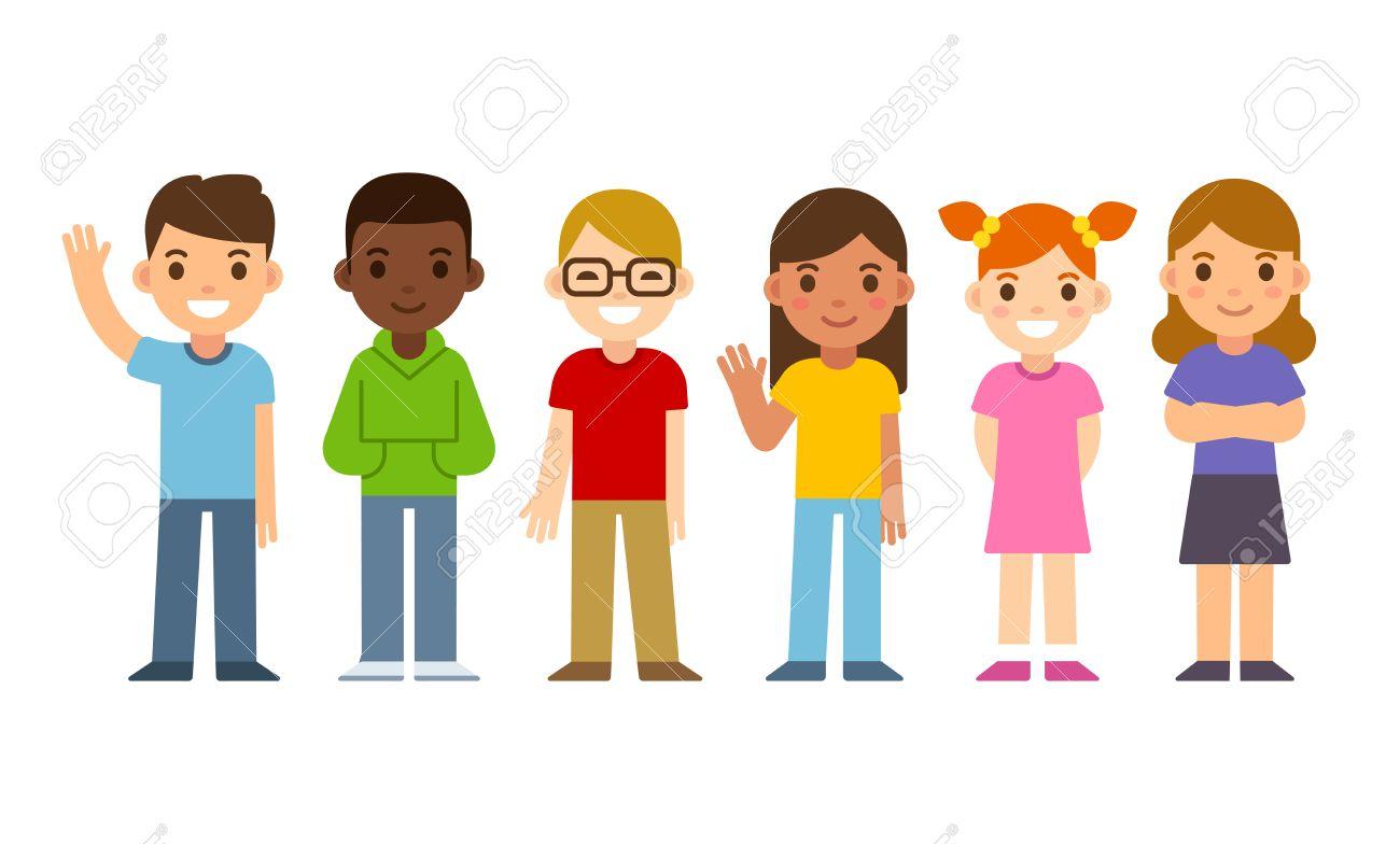 Set of diverse cartoon children. Flat design vector kids, boys and girls. - 58062472
