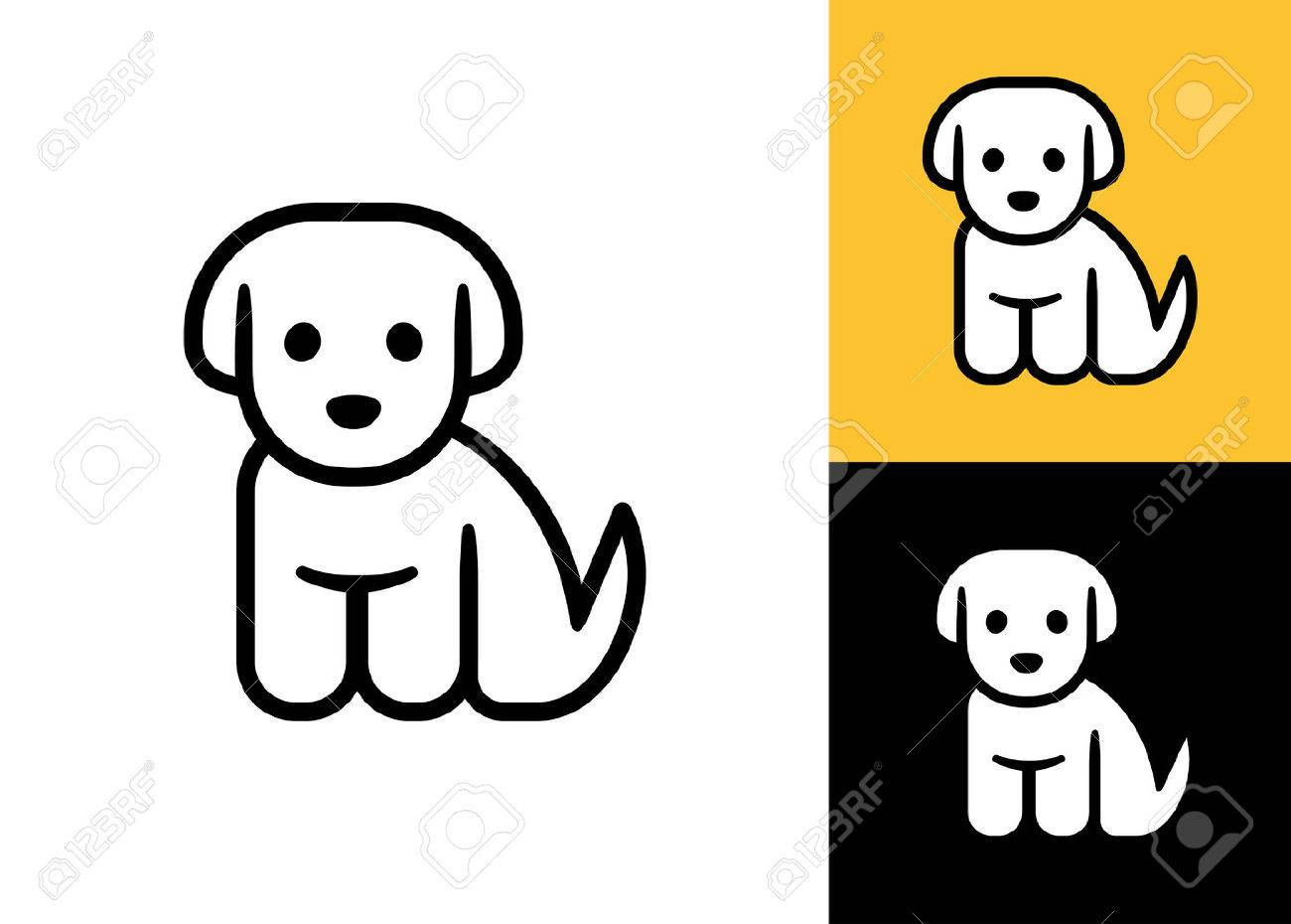 Puppy Icon Isolated On White Black And Yellow Background Cute