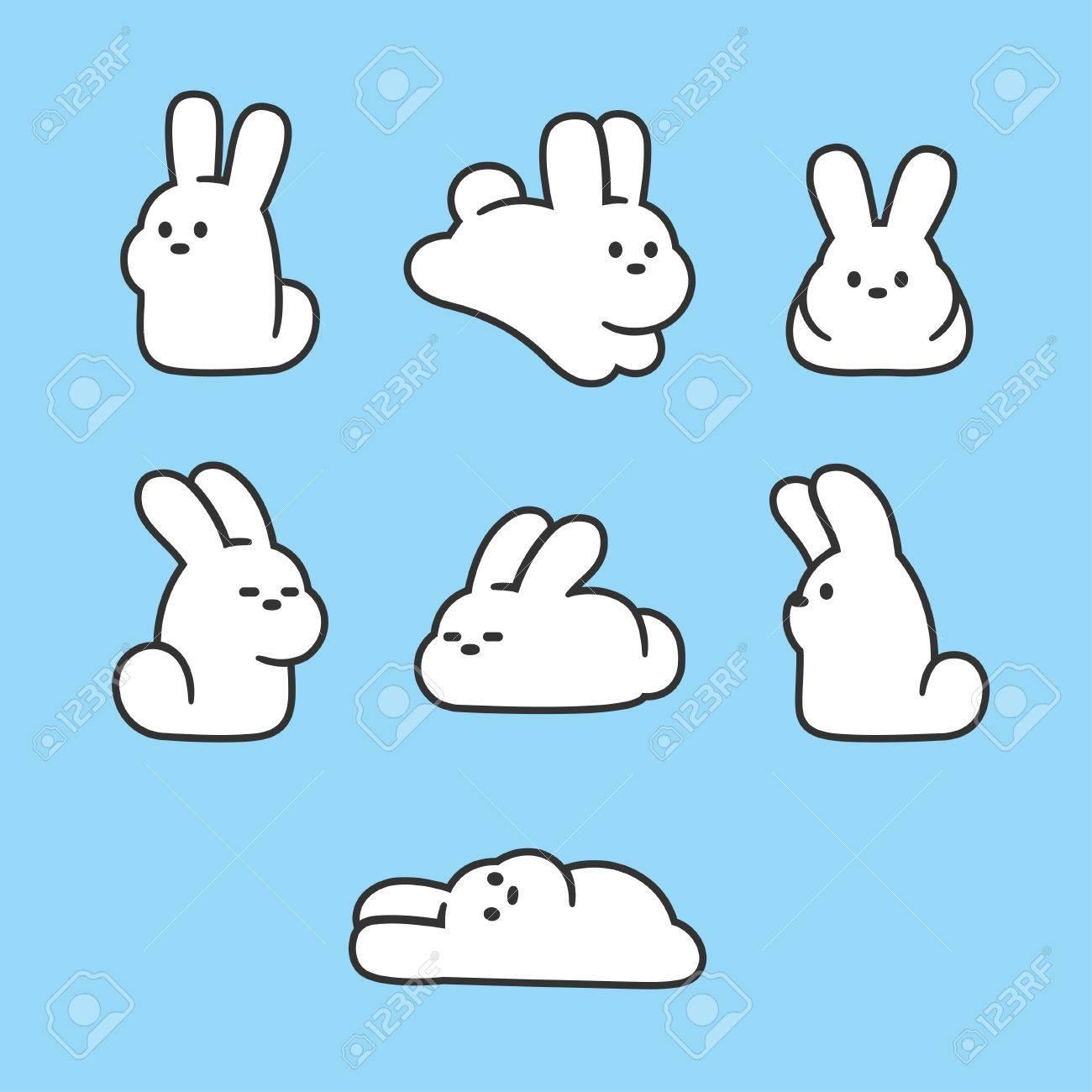 cute cartoon rabbits set simple hand drawn white bunnies in