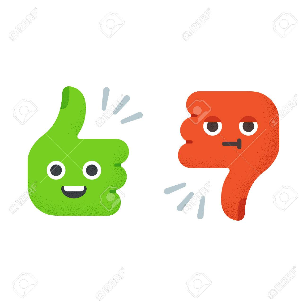 cartoon thumbs up and thumbs down with cute funny faces flat