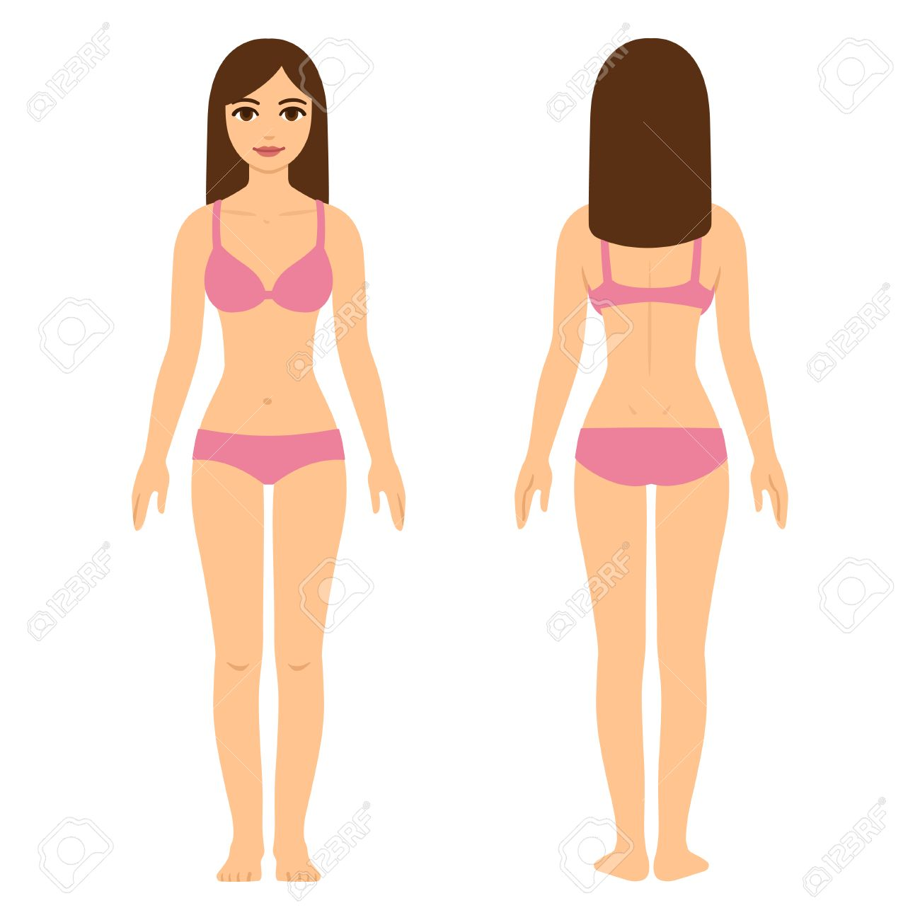 Young pretty woman in underwear, beauty and health illustration. Full body front and back view. - 63947738