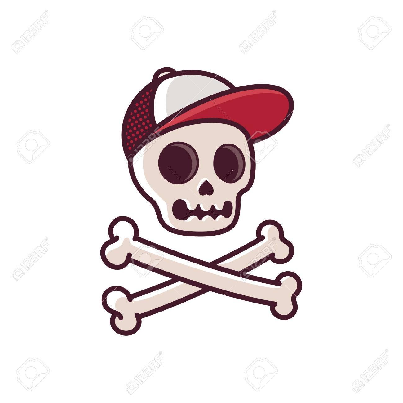 De Dibujos Animados Cráneo Humano En Gorra De Béisbol Con La Bandera ...