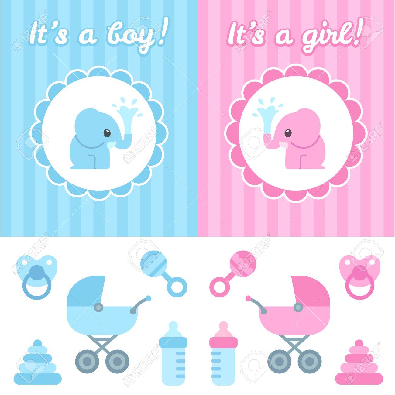 Baby Shower Design Elements Cute Cartoon Baby Elephant On Elegant