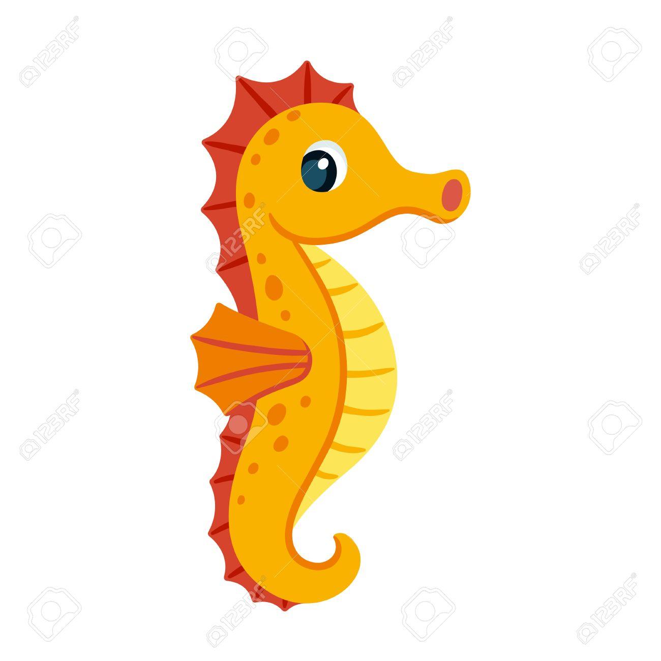 Dibujo Animado Lindo Caballito De Mar De Color Naranja. Ilustración ...
