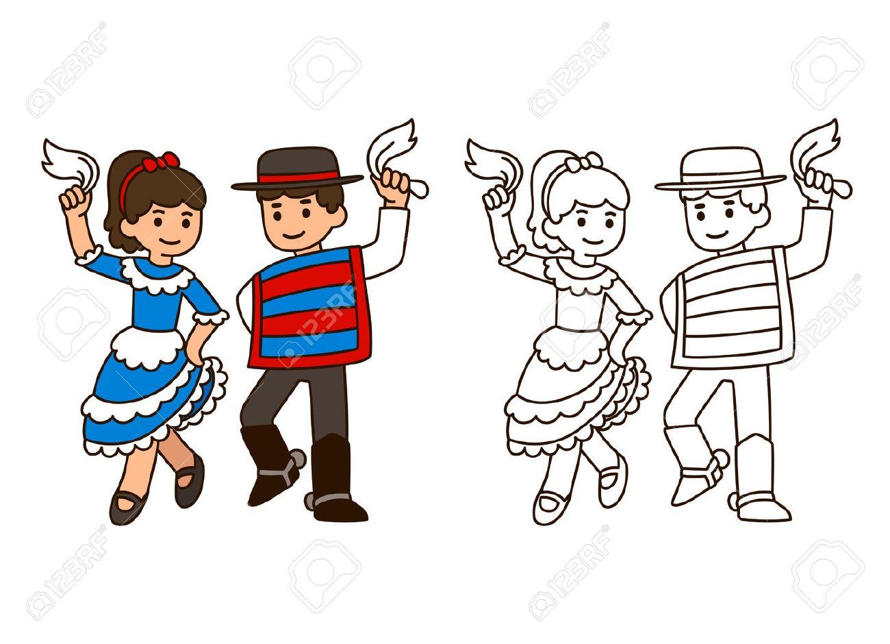 Niños De Dibujos Animados Que Bailan La Cueca La Danza Tradicional En Chile Niño Y Niña Pareja En Trajes Nacionales Modelo Para La Ilustración