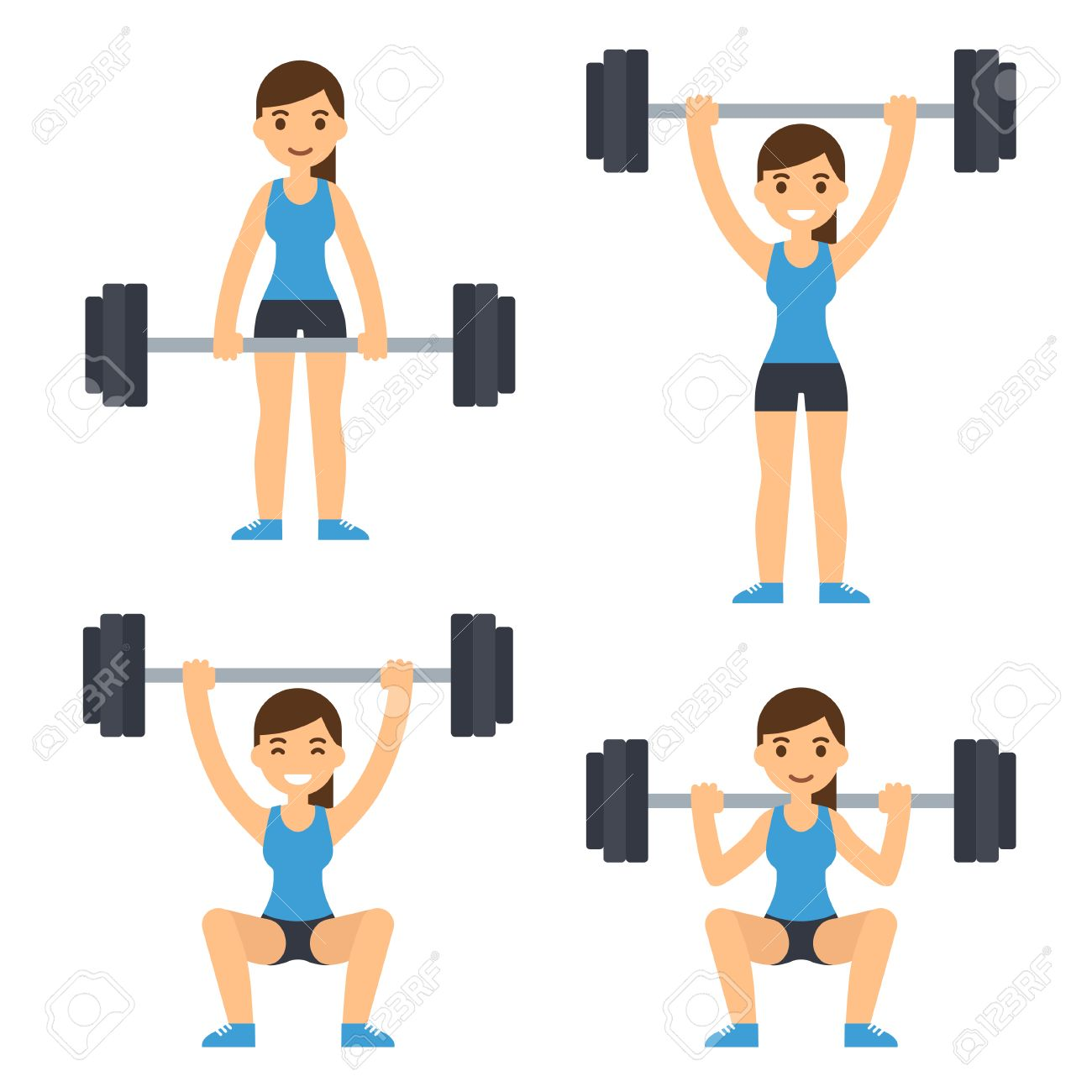 Cartoon Woman Barbell Training Weight Lifting Exercises Squat Royalty Free Cliparts Vectors And Stock Illustration Image 63947753