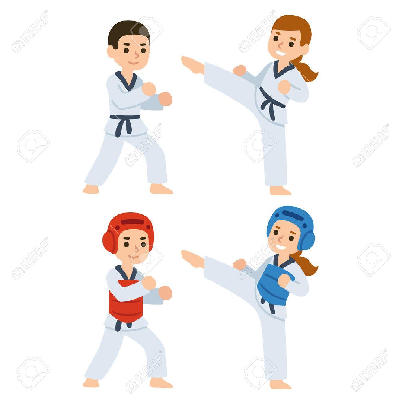 Boy and girl fighting in kimonos and taekwondo uniform. Martial arts for kids illustration. - 62070539