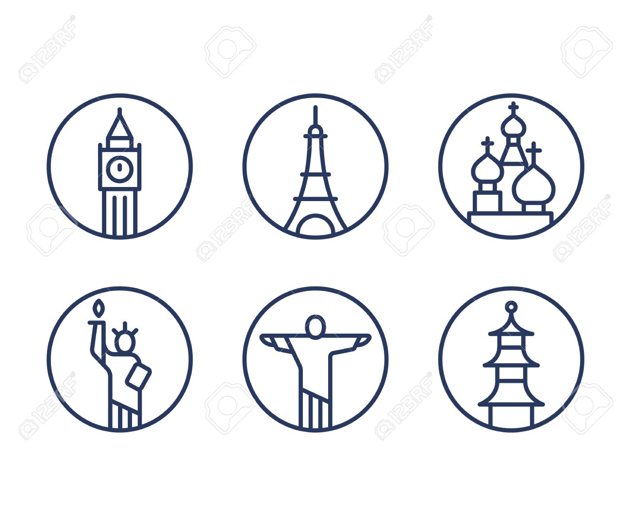 Landmarks icons set world capital cities symbols paris eiffel landmarks icons set world capital cities symbols paris eiffel tower london big ben buycottarizona Image collections