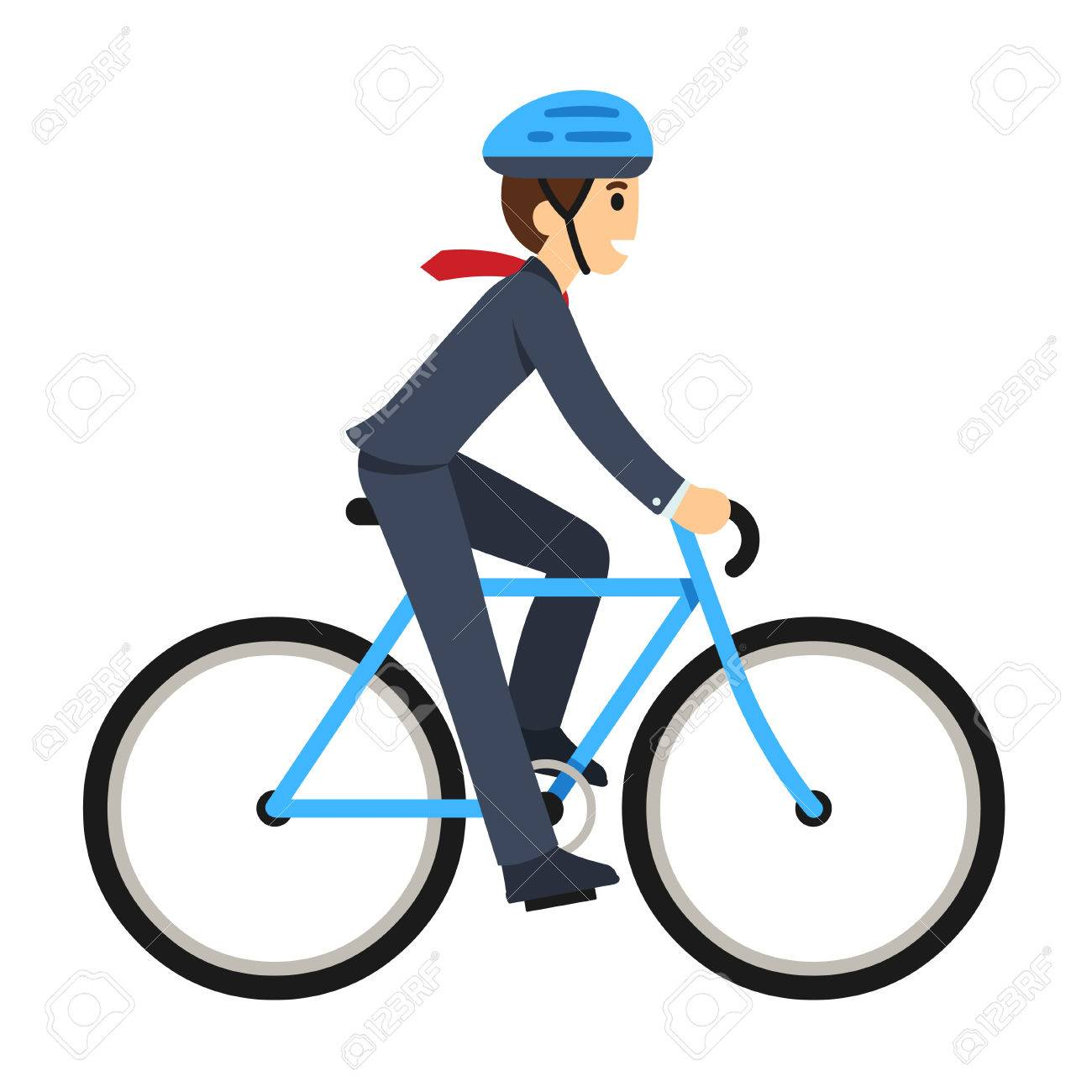 young businessman riding a bicycle to work cute flat cartoon