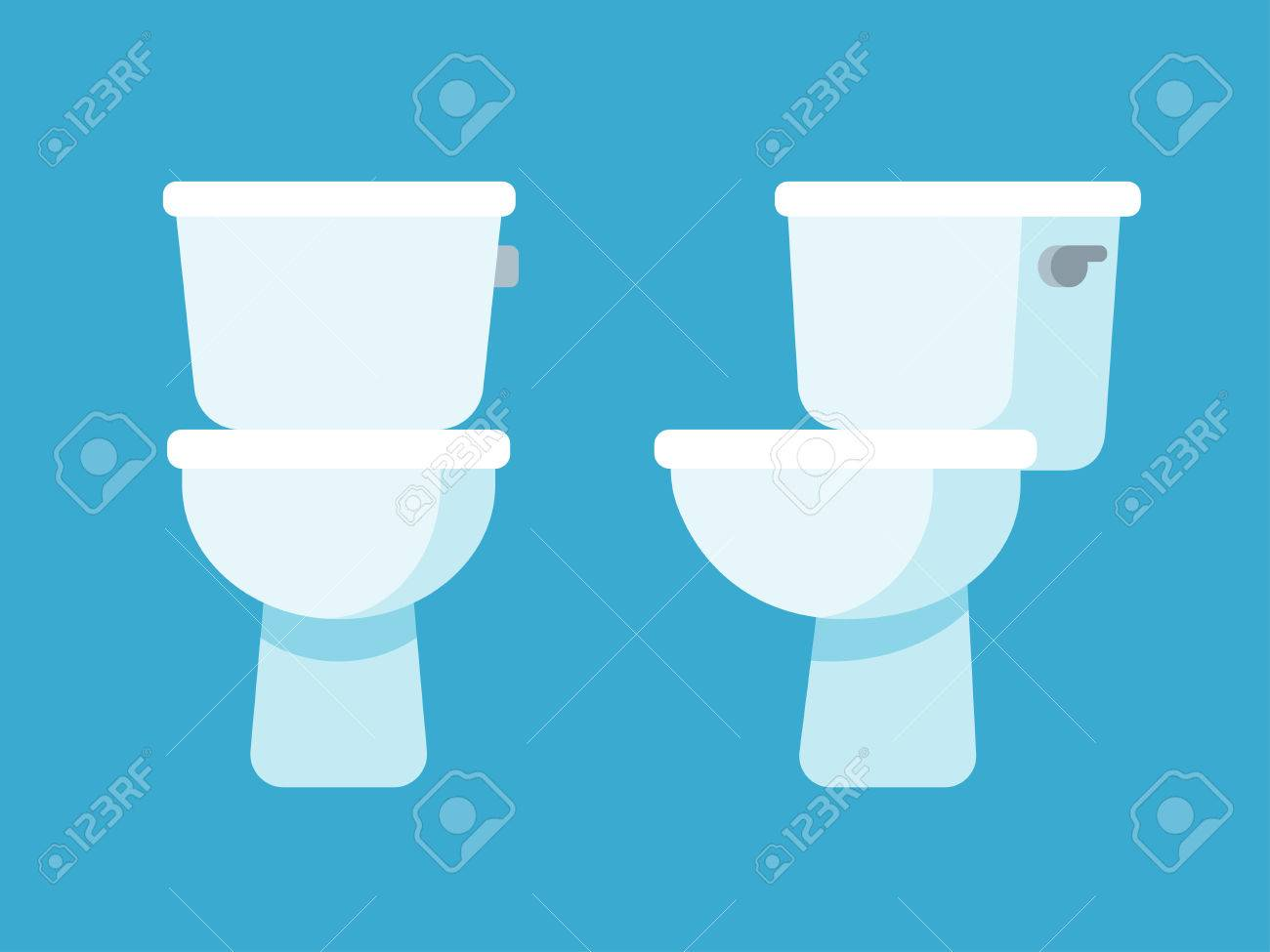 Toilet Bowl Flat Cartoon Icon Front And Side View Stock Vector