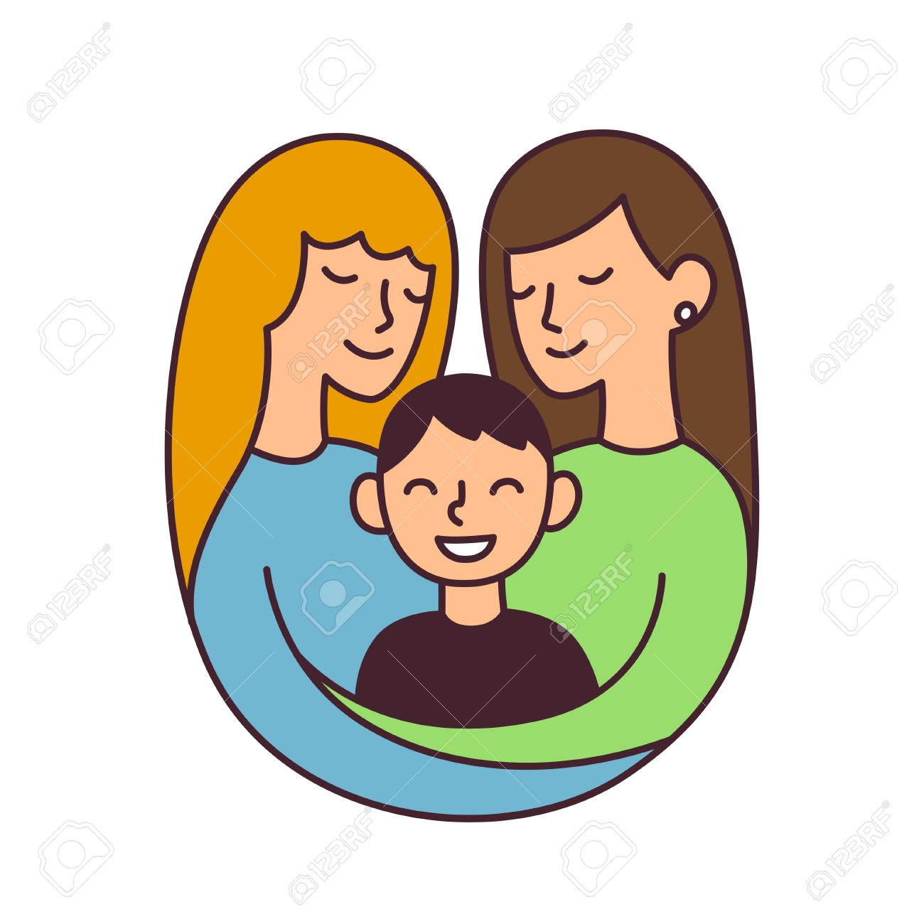 cute cartoon lesbian couple with son, isolated vector illustration