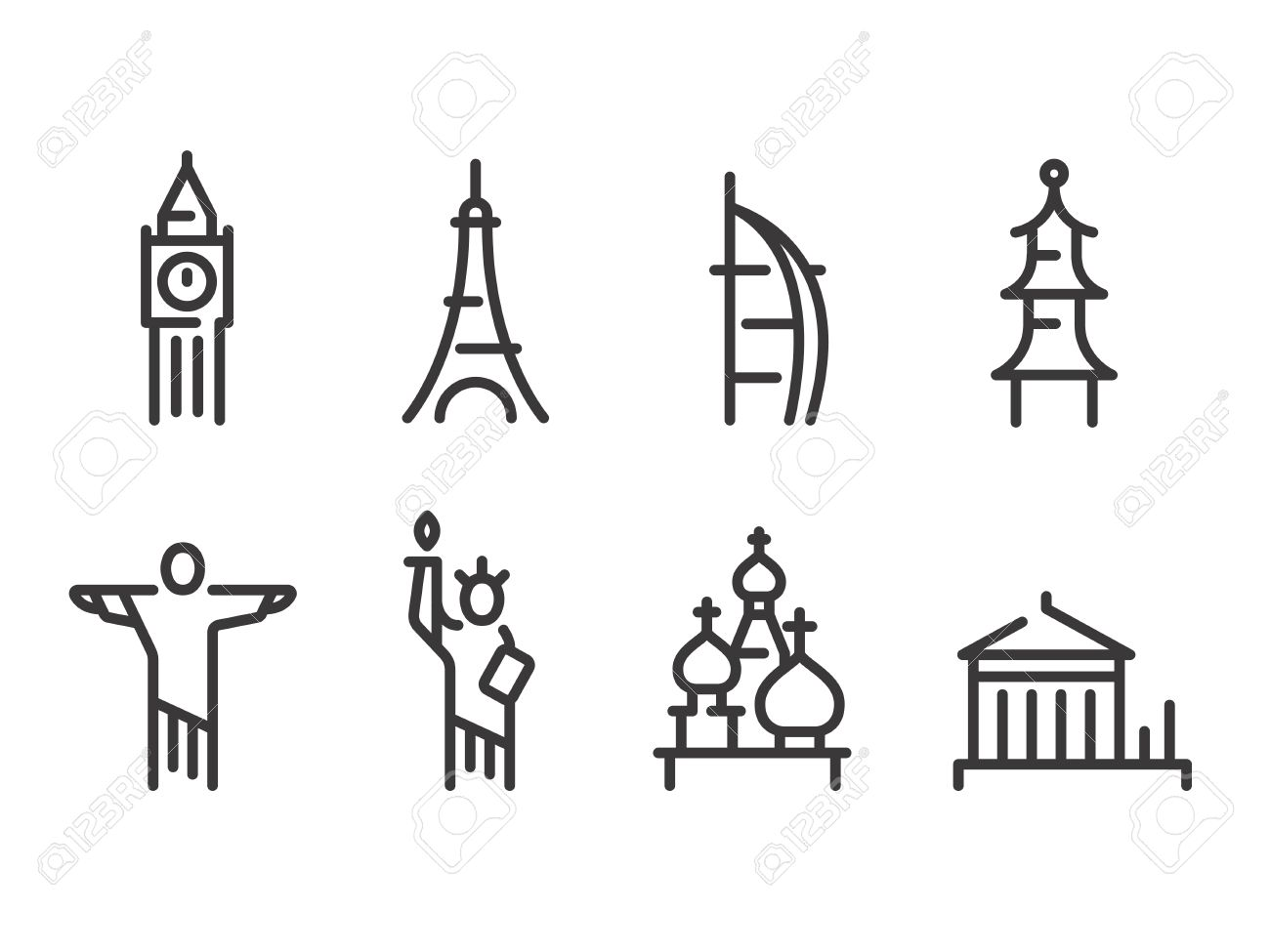 Landmarks icons set world capitals symbols paris and london landmarks icons set world capitals symbols paris and london moscow and new york buycottarizona Image collections