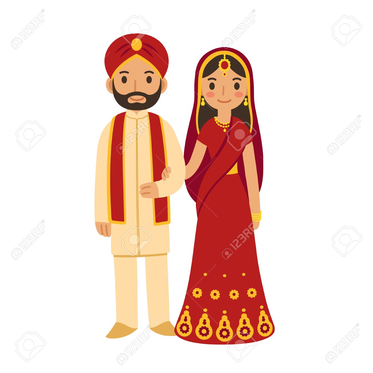 3dd7bd0d62 Indian wedding couple in traditional clothing. Cute cartoon vector  illustration. Stock Vector - 63947771