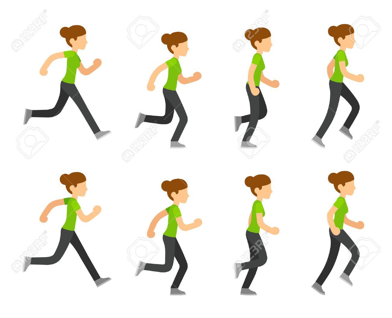 Running Woman Animation Frames Set. Flat Cartoon Vector Illustration ...