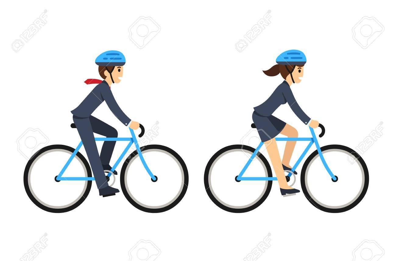 自転車に乗ってビジネス スーツの女若い男かわいいフラット漫画