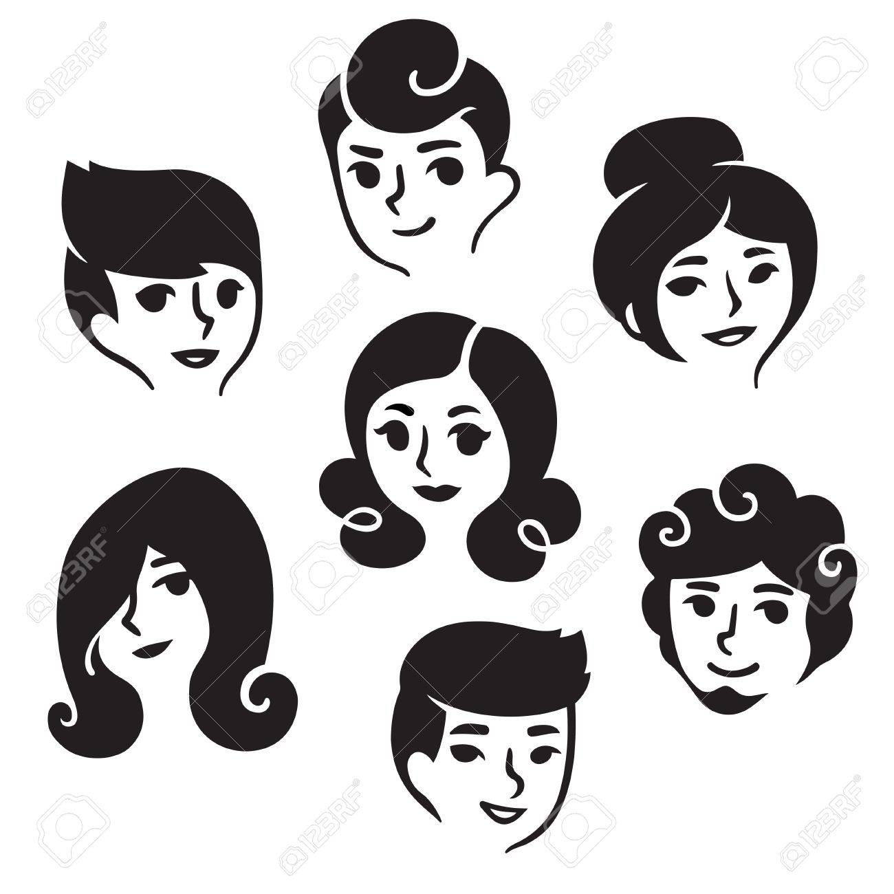 Cartoon Male And Female Faces With Different Hairstyles