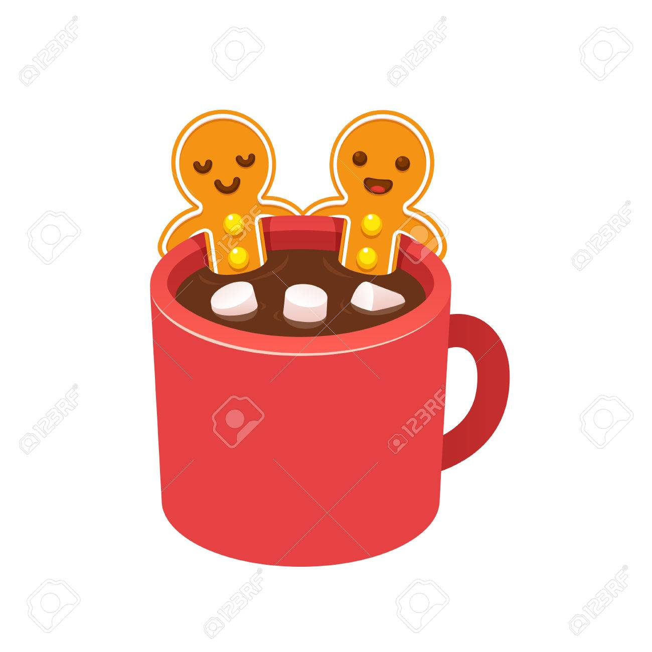 Two Gingerbread Man Cookies In Hot Chocolate Cup With Marshmallows Royalty Free Cliparts Vectors And Stock Illustration Image 67677652